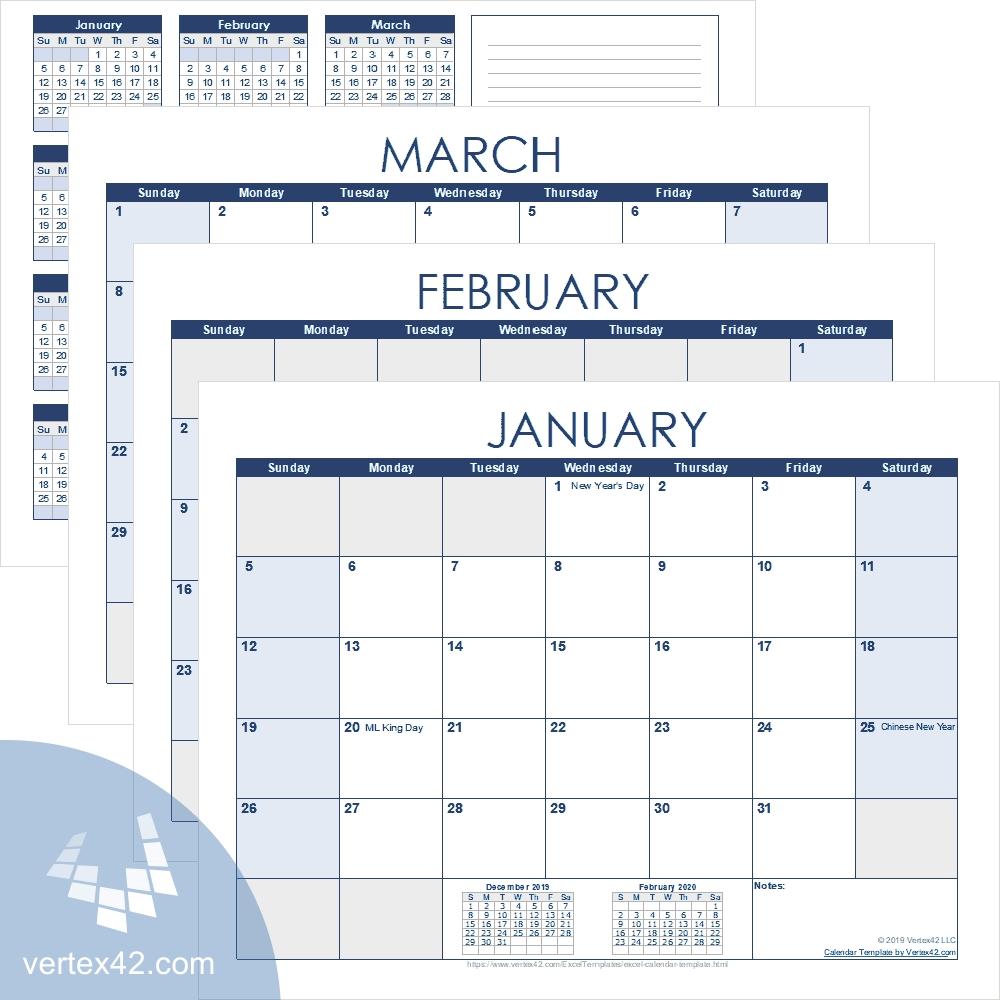 Excel Calendar Template For 2020 And Beyond-Calendar Template By Vertex42