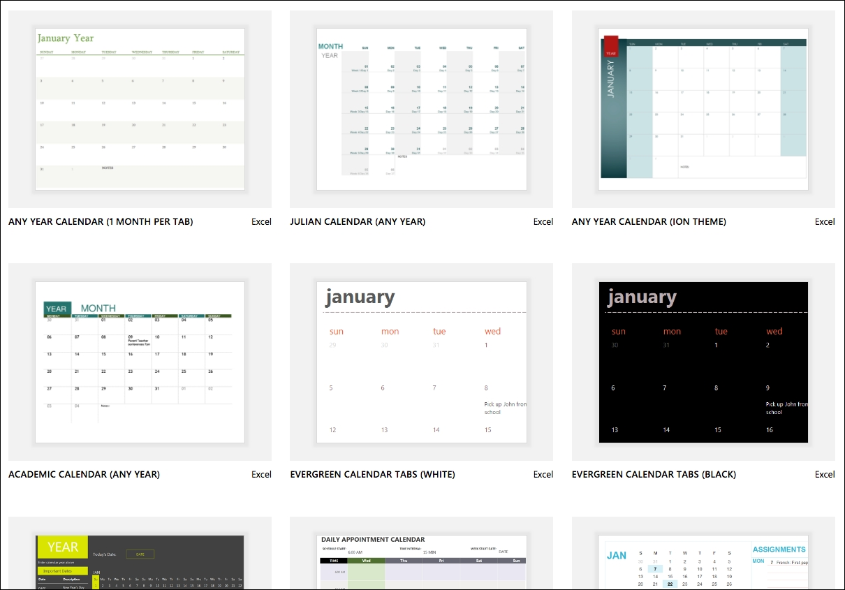 Excel Calendar Templates - Excel-6 Months On One Page Template
