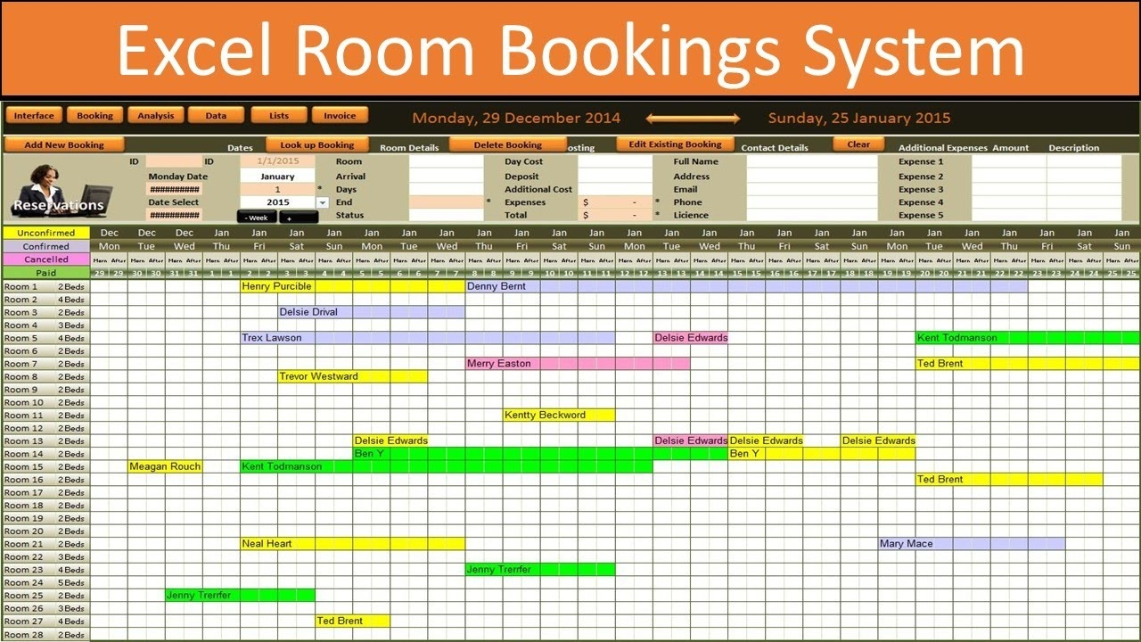 Excel Room Bookings Calendar-Free Reservation Calendar Template