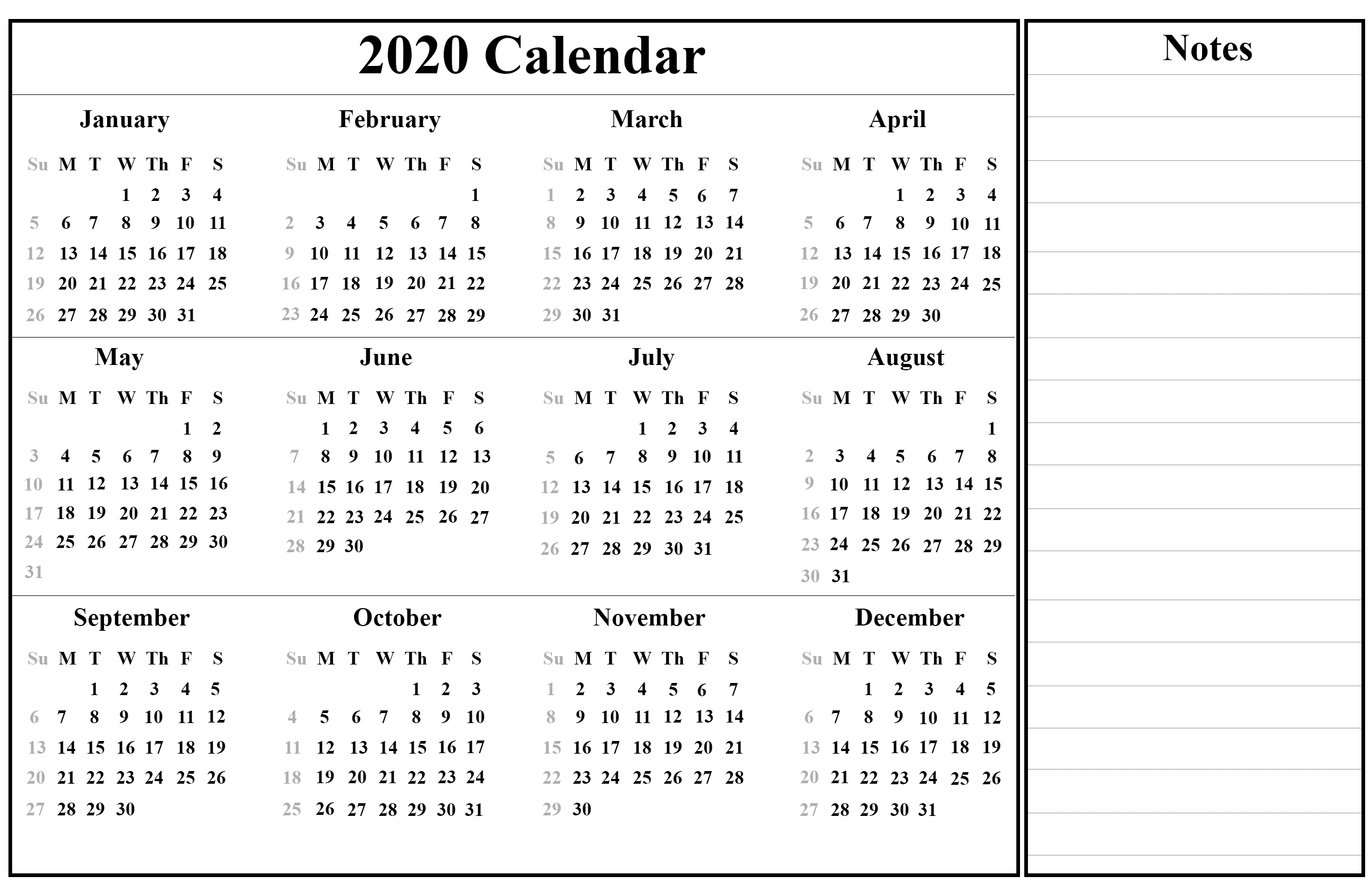 😄printable Yearly Calendar 2020 Template With Holidays [Pdf-2020 Calendar With Holidays In India Pdf