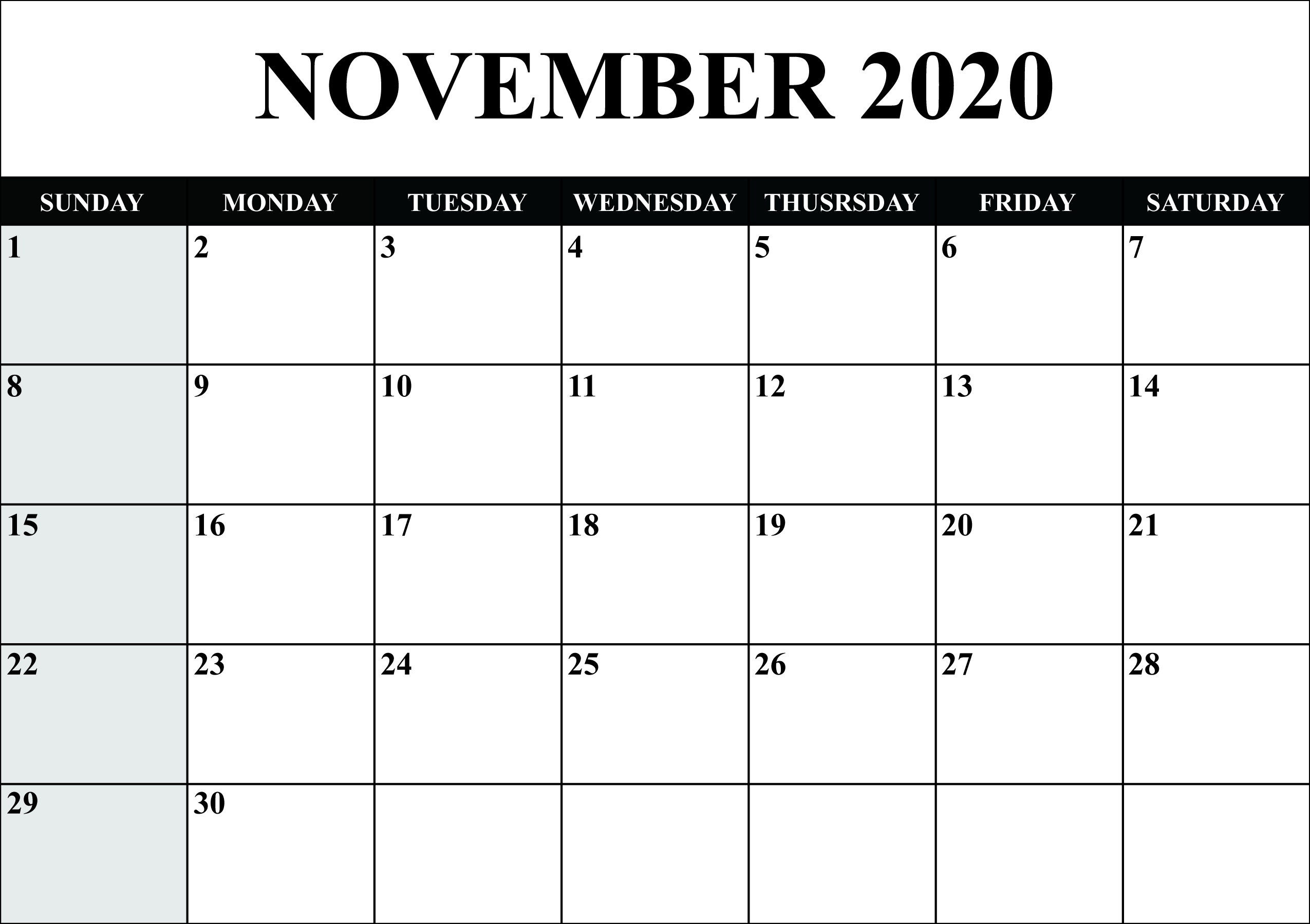 😄printable Yearly Calendar 2020 Template With Holidays [Pdf-Microsoft Word 2020 Calendar Template
