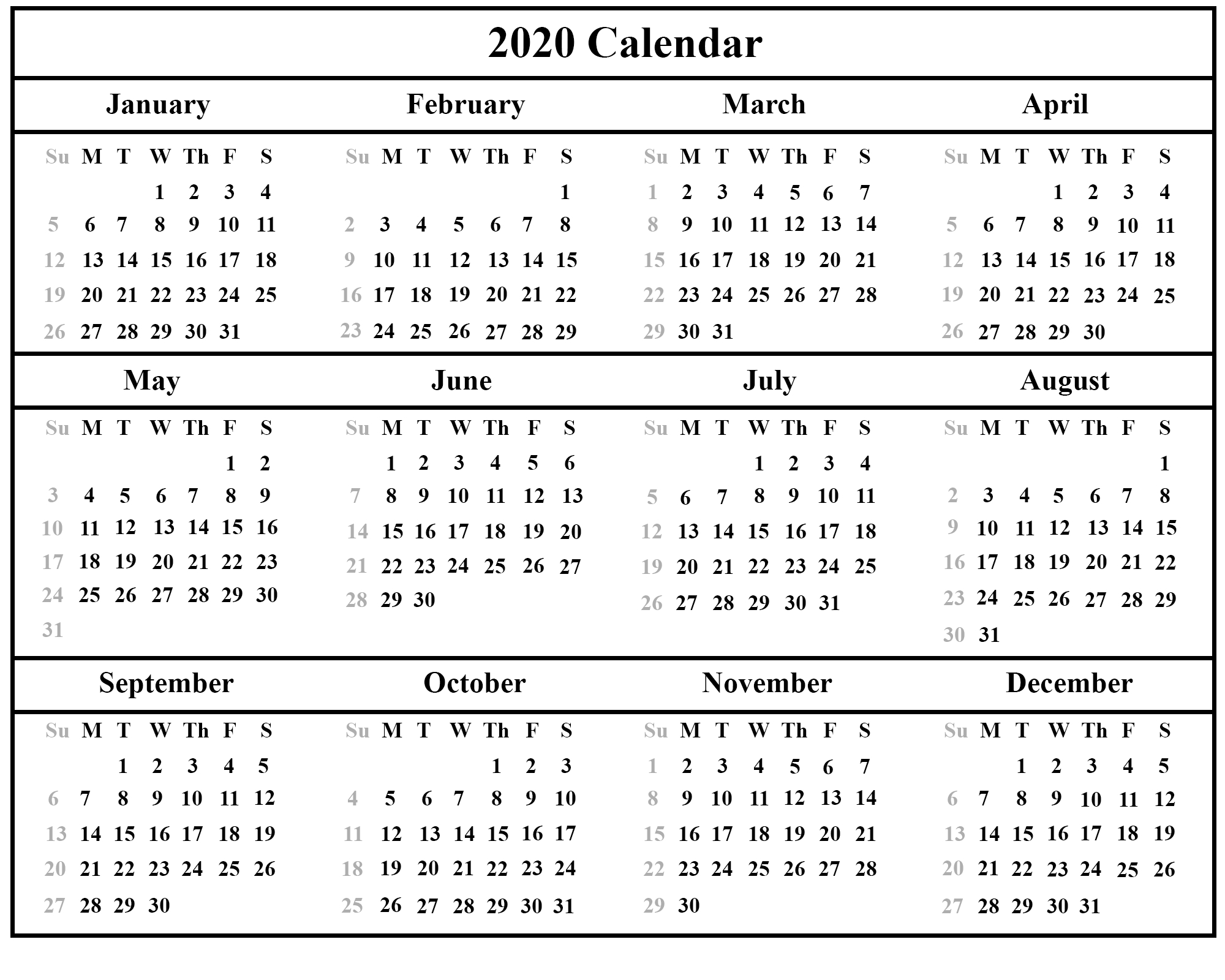 😄printable Yearly Calendar 2020 Template With Holidays [Pdf-Vacation Calendar Template 2020