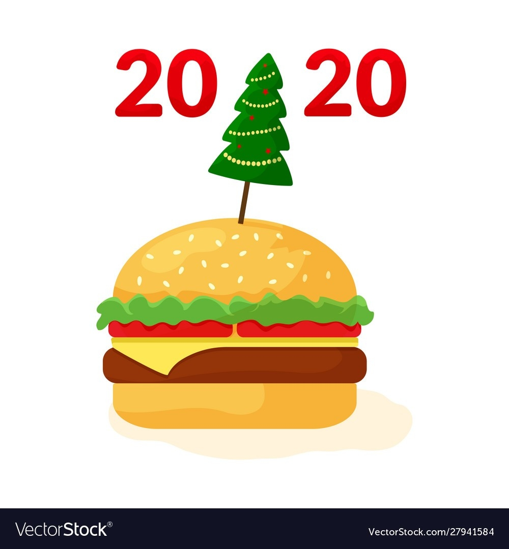Fast Food 2020 Cheeseburger With Christmas Tree-Free Food Holidays 2020