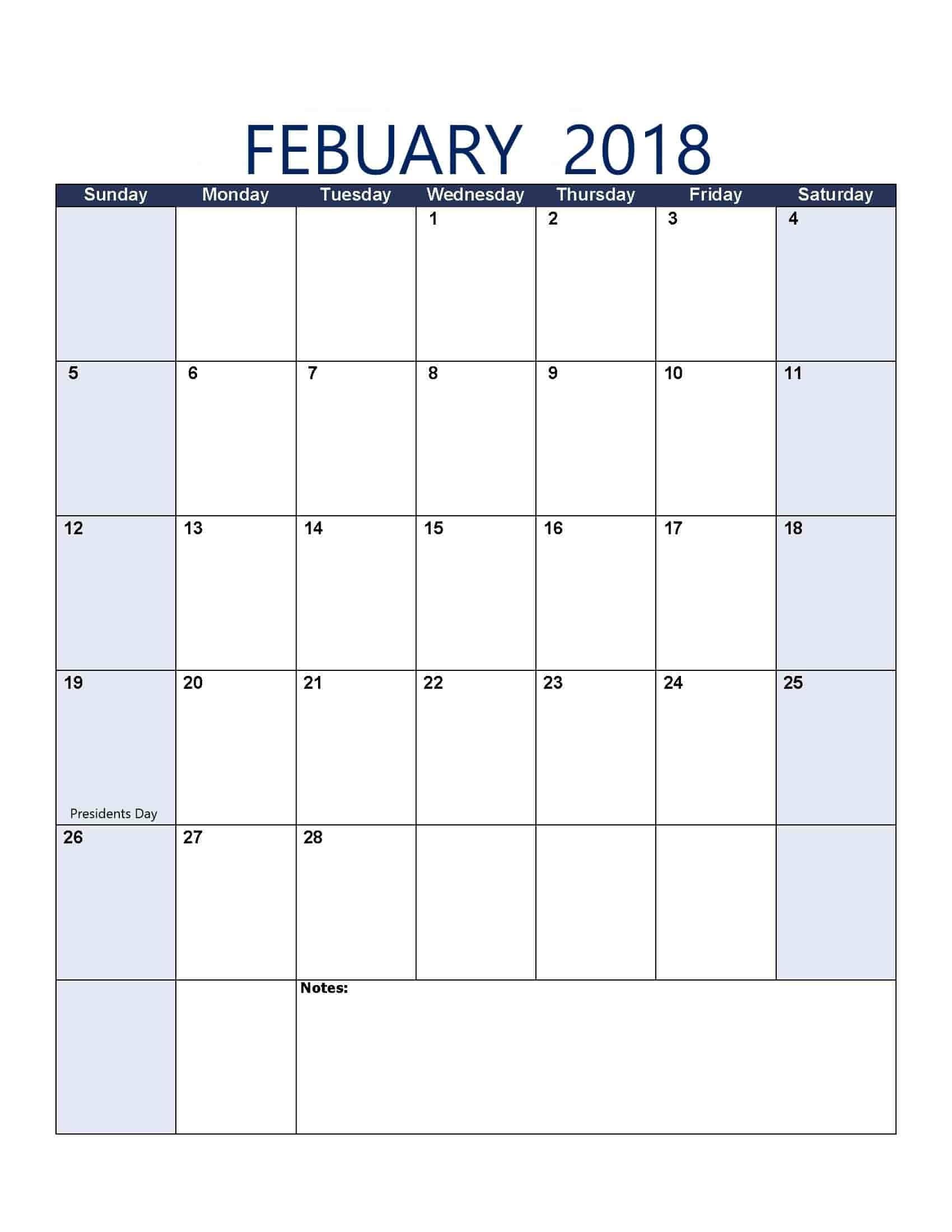 February 2018 Calendar - Free, Printable Calendar Templates-8.5 X 14 Calendar Template