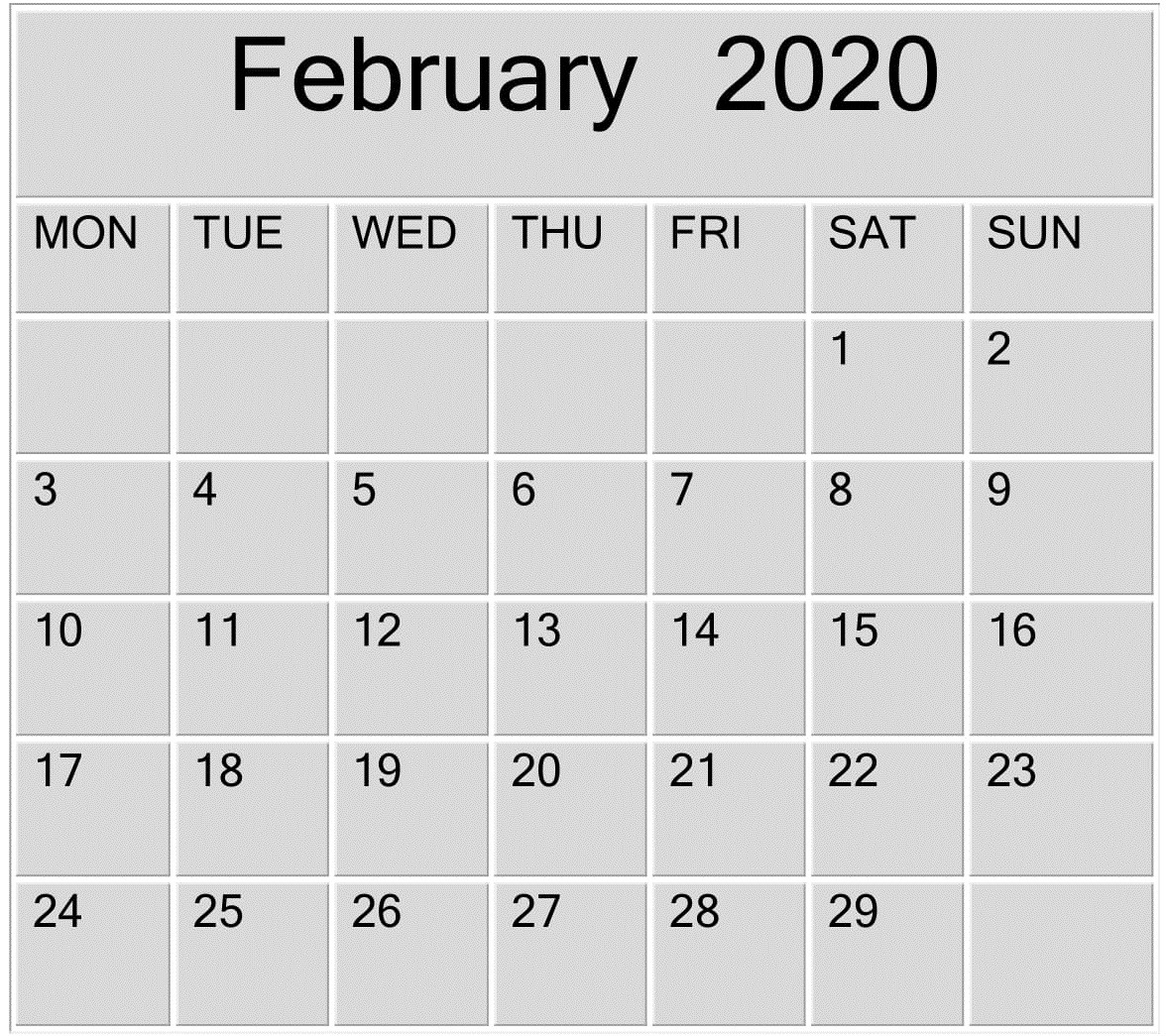 February 2020 Blank Calendar Word, Excel Template – Free-Microsoft Word Calendar Template 2020 Edit