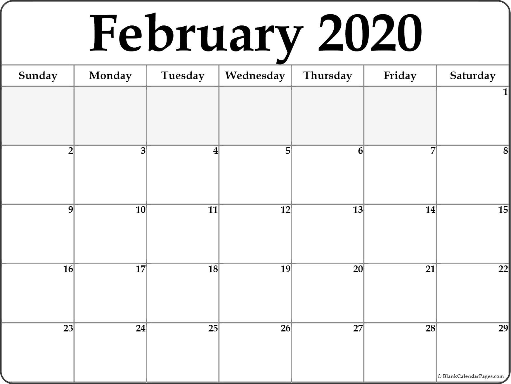 February 2020 Calendar | Free Printable Monthly Calendars-Summer Calendar Blank 2020