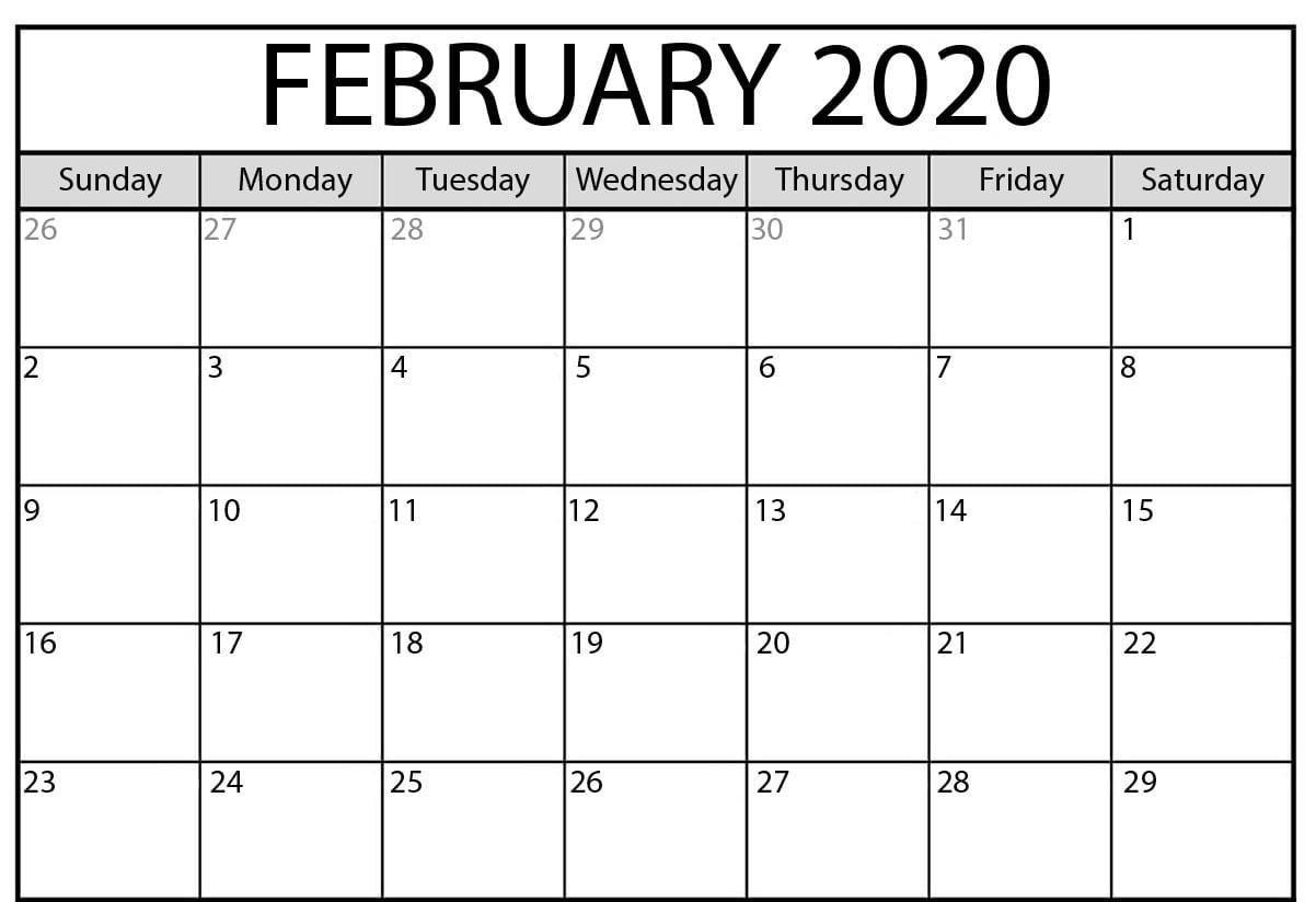 February 2020 Calendar Pdf | Printable Calendar Template-2020 Calendar Template Fillable Pdf
