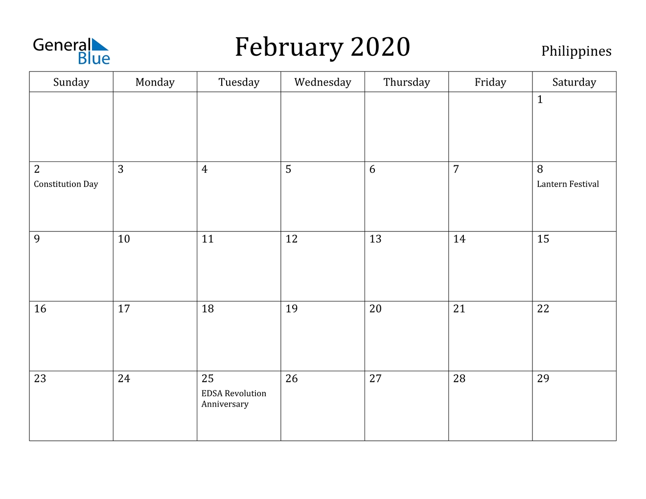 February 2020 Calendar - Philippines-Holidays To The Philipines In March 2020