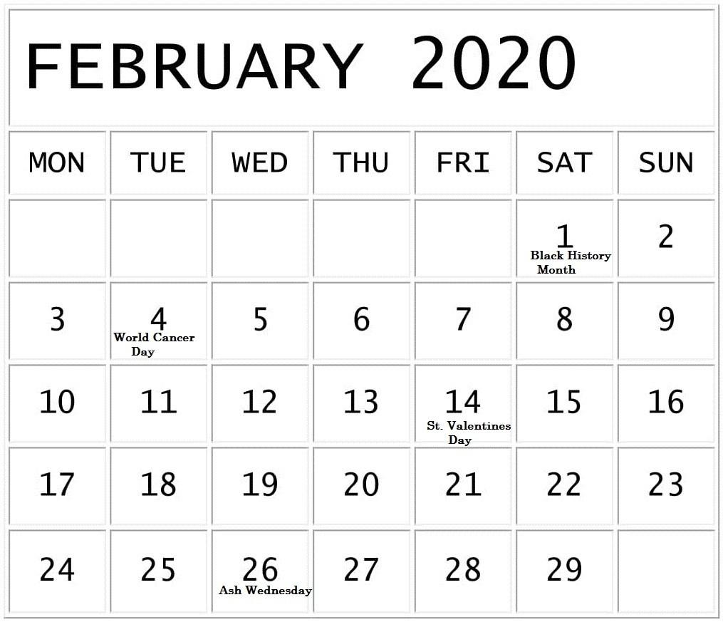 February 2020 Calendar With National Holidays – Free Latest-National Calendar Holidays 2020