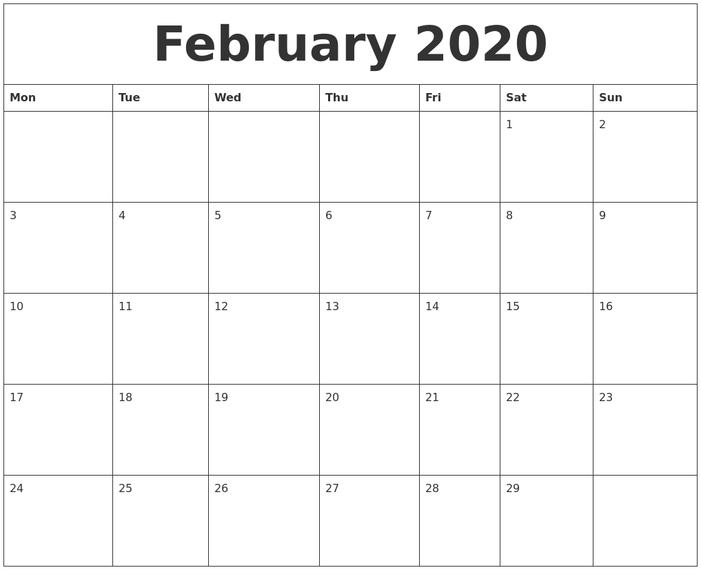 February 2020 Free Printable Calendar Templates-Monday Start Calendar Template