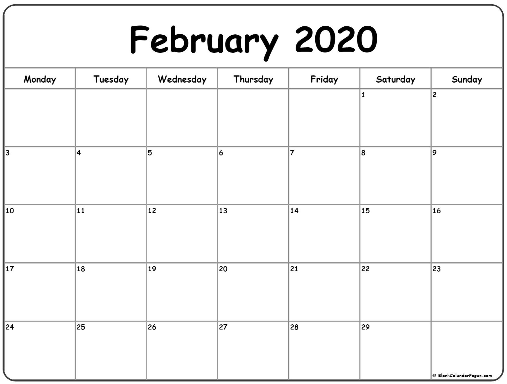 February 2020 Monday Calendar | Monday To Sunday-Monday To Sunday Monthly Planners