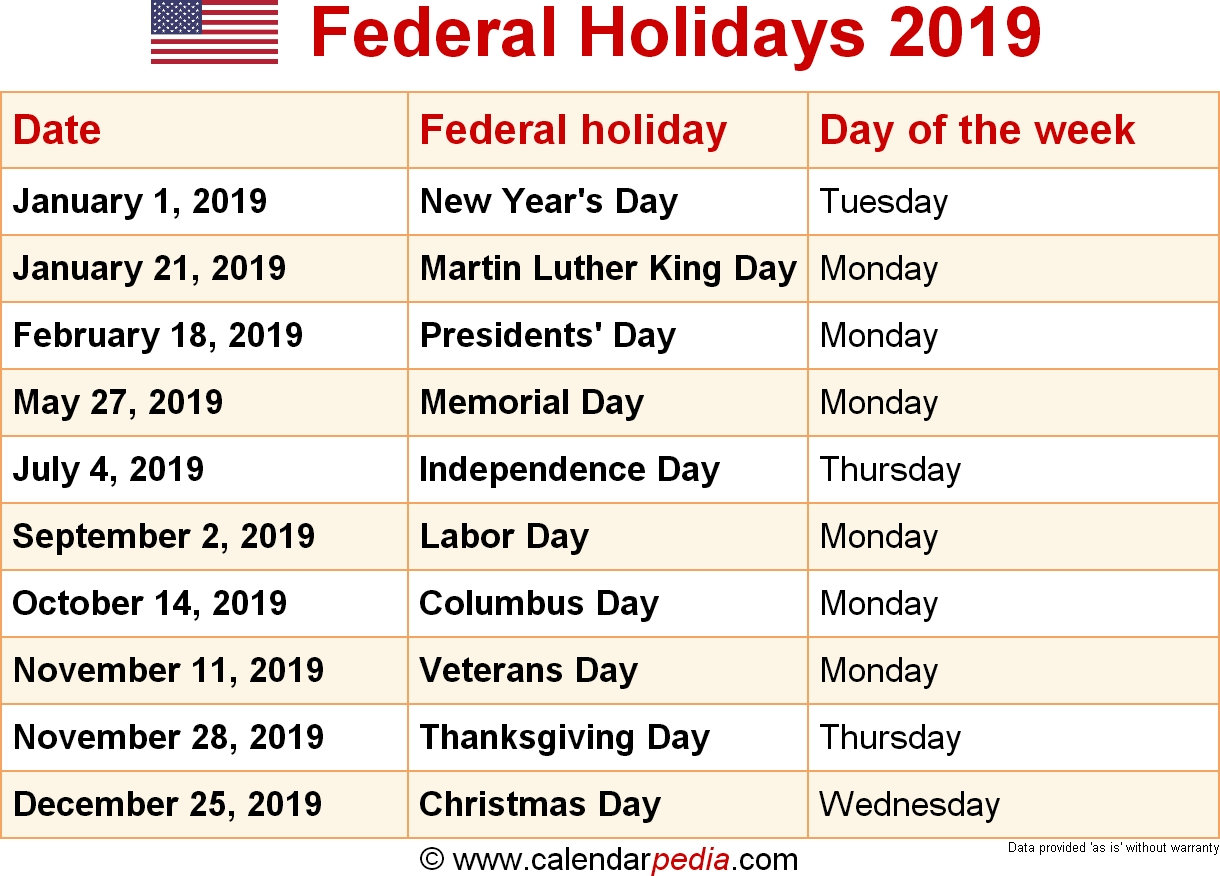 Federal Holidays 2019-2020 Calendar With Usa Legal Holidays
