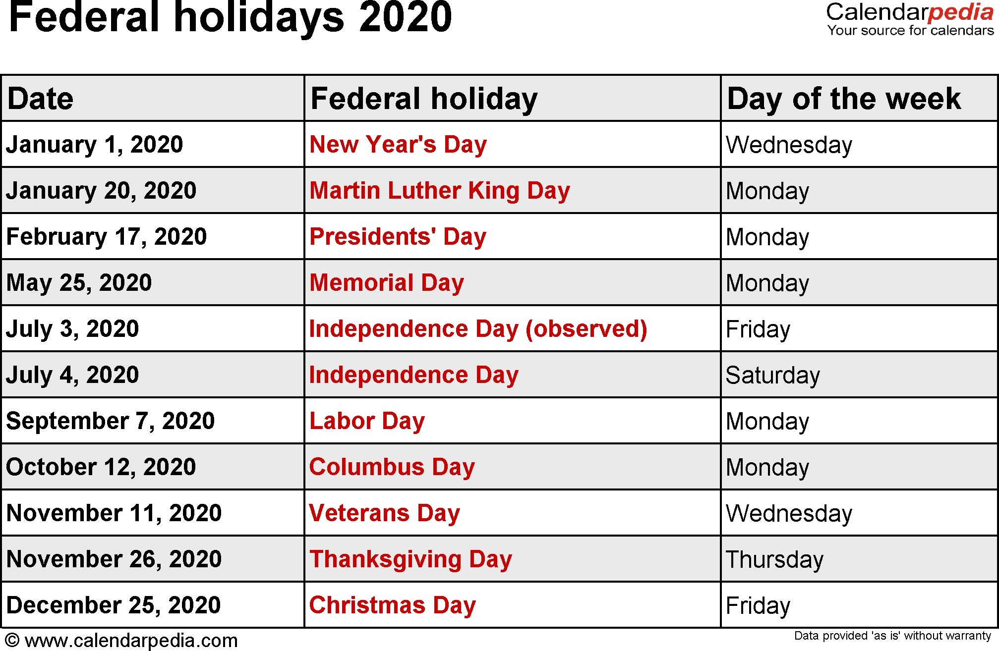 Federal Holidays 2020-2020 Calendar With Usa Legal Holidays