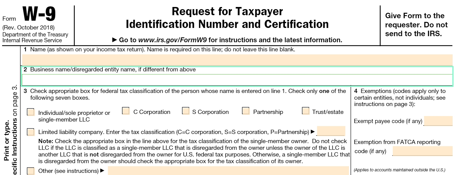 Fillable W-9 Form: Get Free Irs W-9 Template Online (2018-Blank W 9 Form 2020 Printable