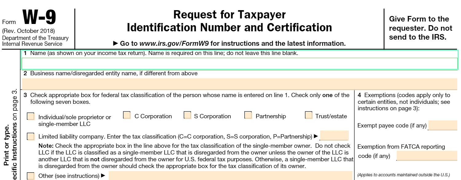 Fillable W-9 Form: Get Free Irs W-9 Template Online (2018-W 9 Form 2020 Printable Free Blank