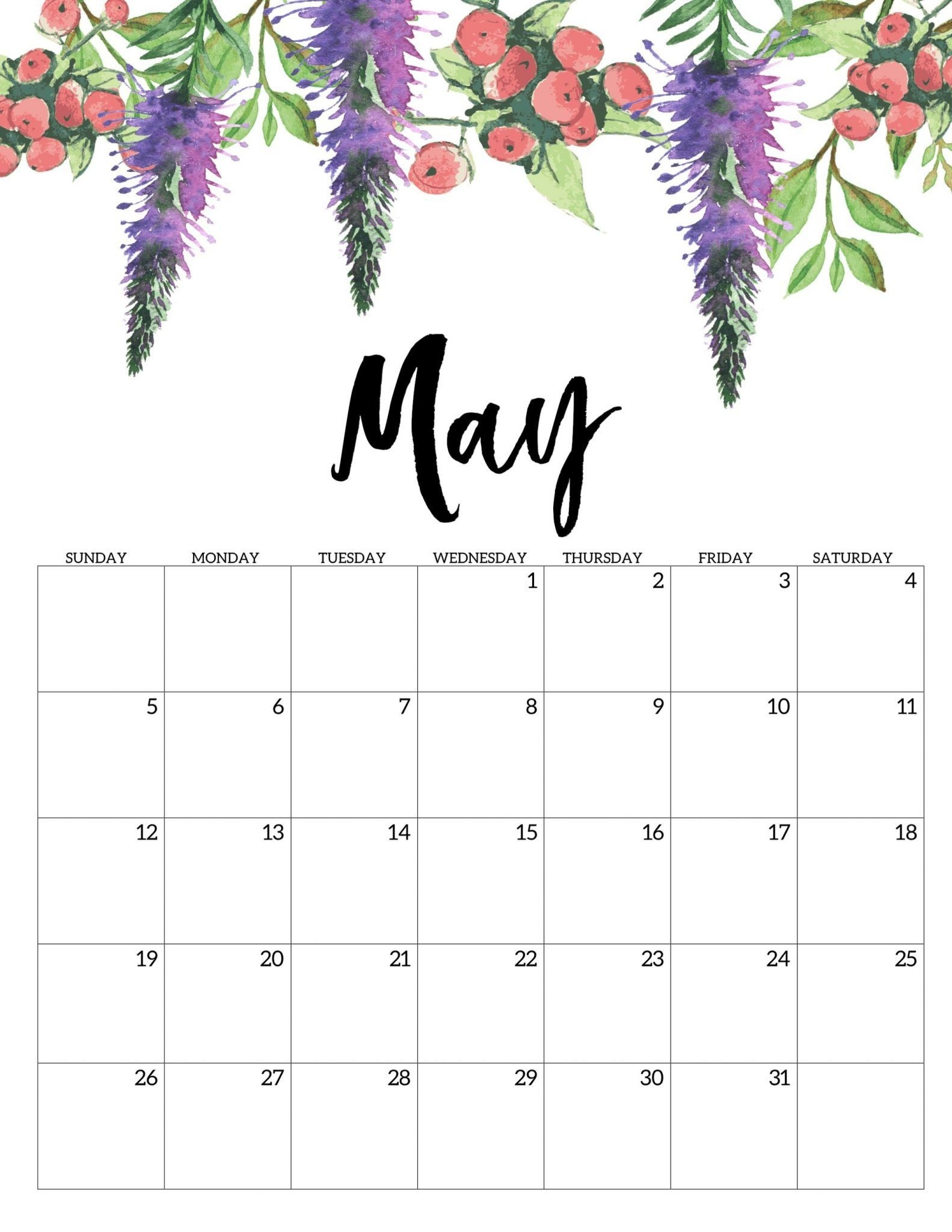 Floral May 2019 Cute Calendar | Free Printable Calendar-Template For Calendars With Flowers