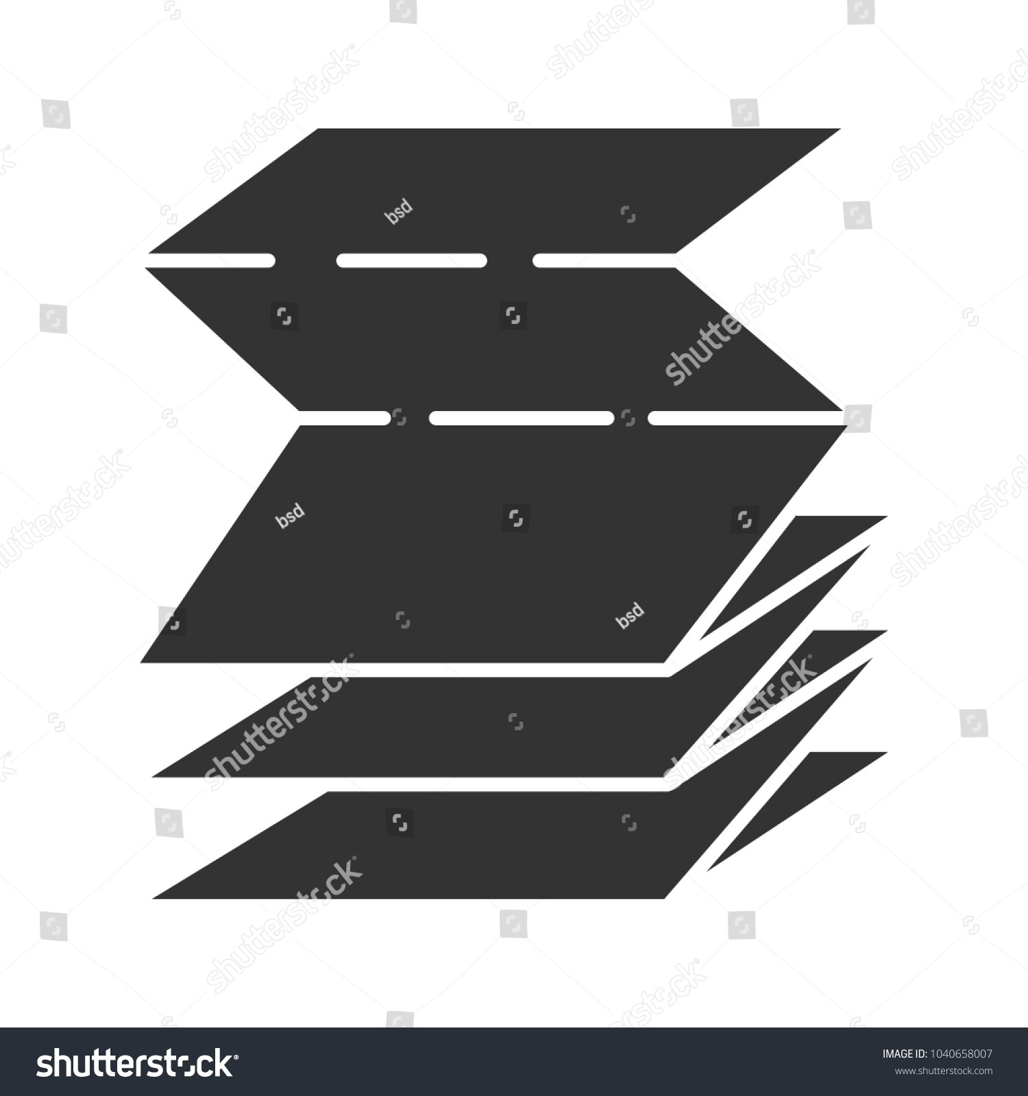 Folded Paper Leaflet Glyph Icon Blank Stock Vector (Royalty-Glyphicon Icon Is Blank