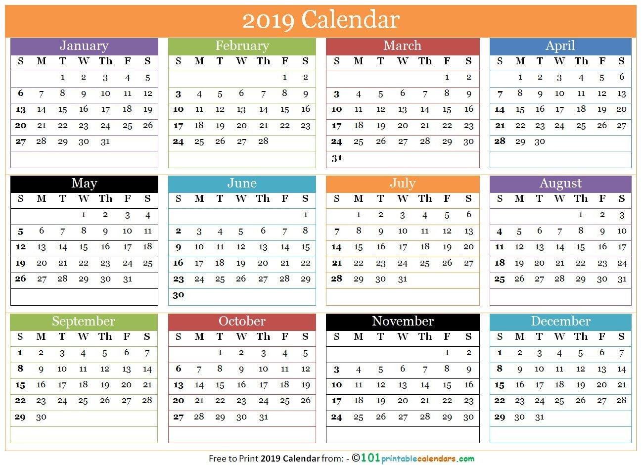 Free 12 Months Calendar 2019 In One Page | 12 Month Calendar-Free Printable Blank Single Page Month Calendar
