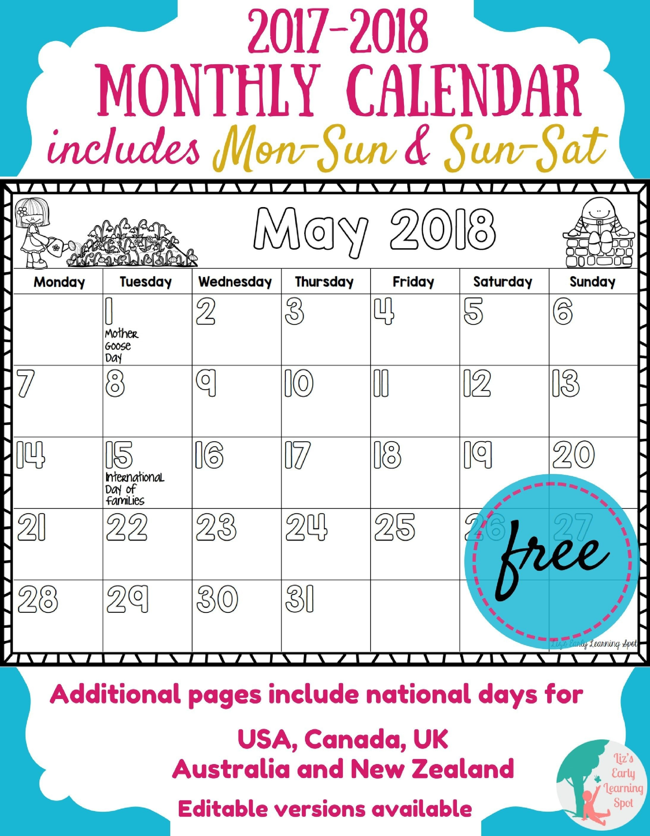Free 2017-2018 Monthly Calendar For Kids | Kids Calendar-Blank Preschool Class Calendar