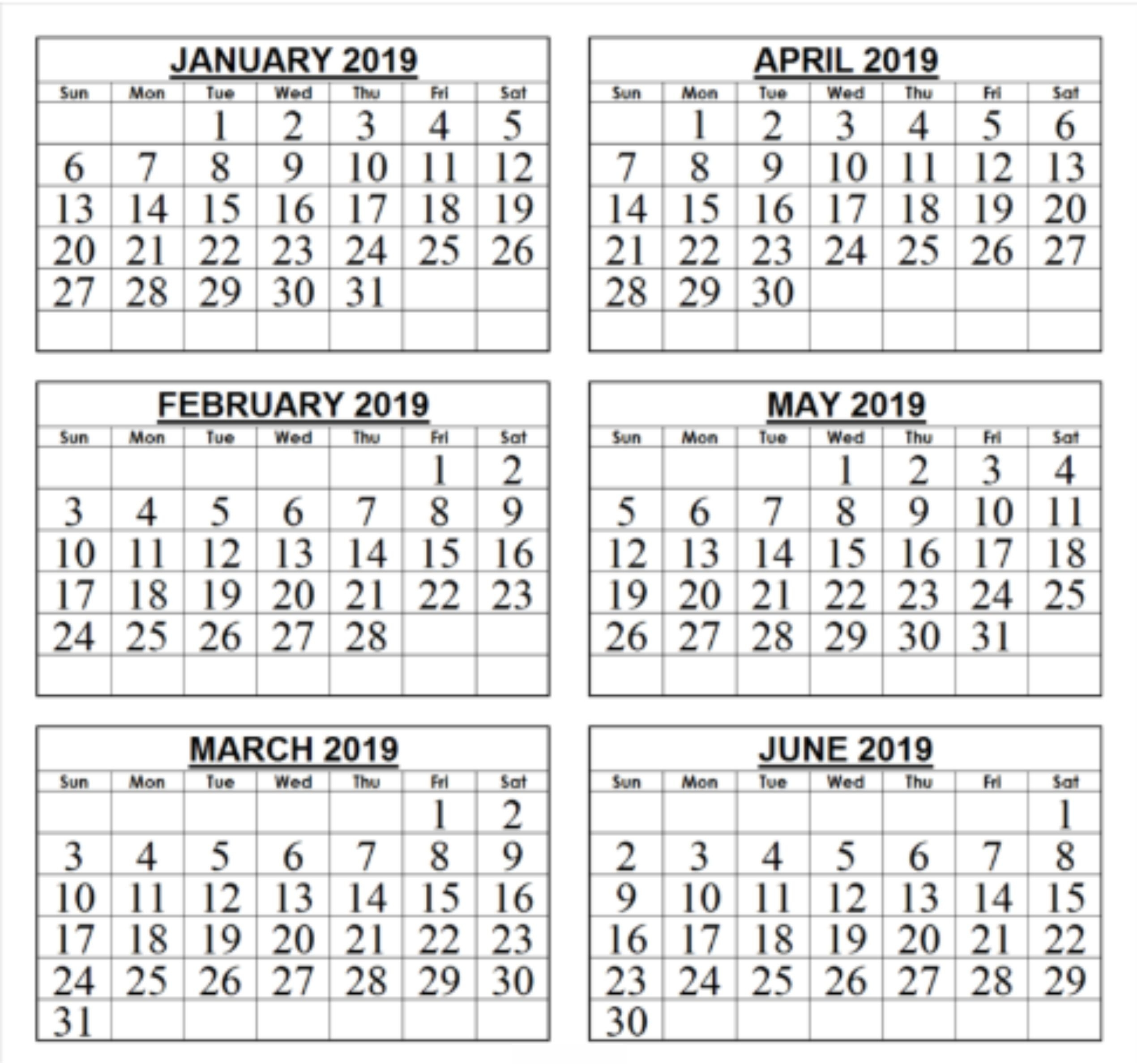 Free 2019 Six Month Blank Printable Calendar Download-Blank Six Month Calendar Printable