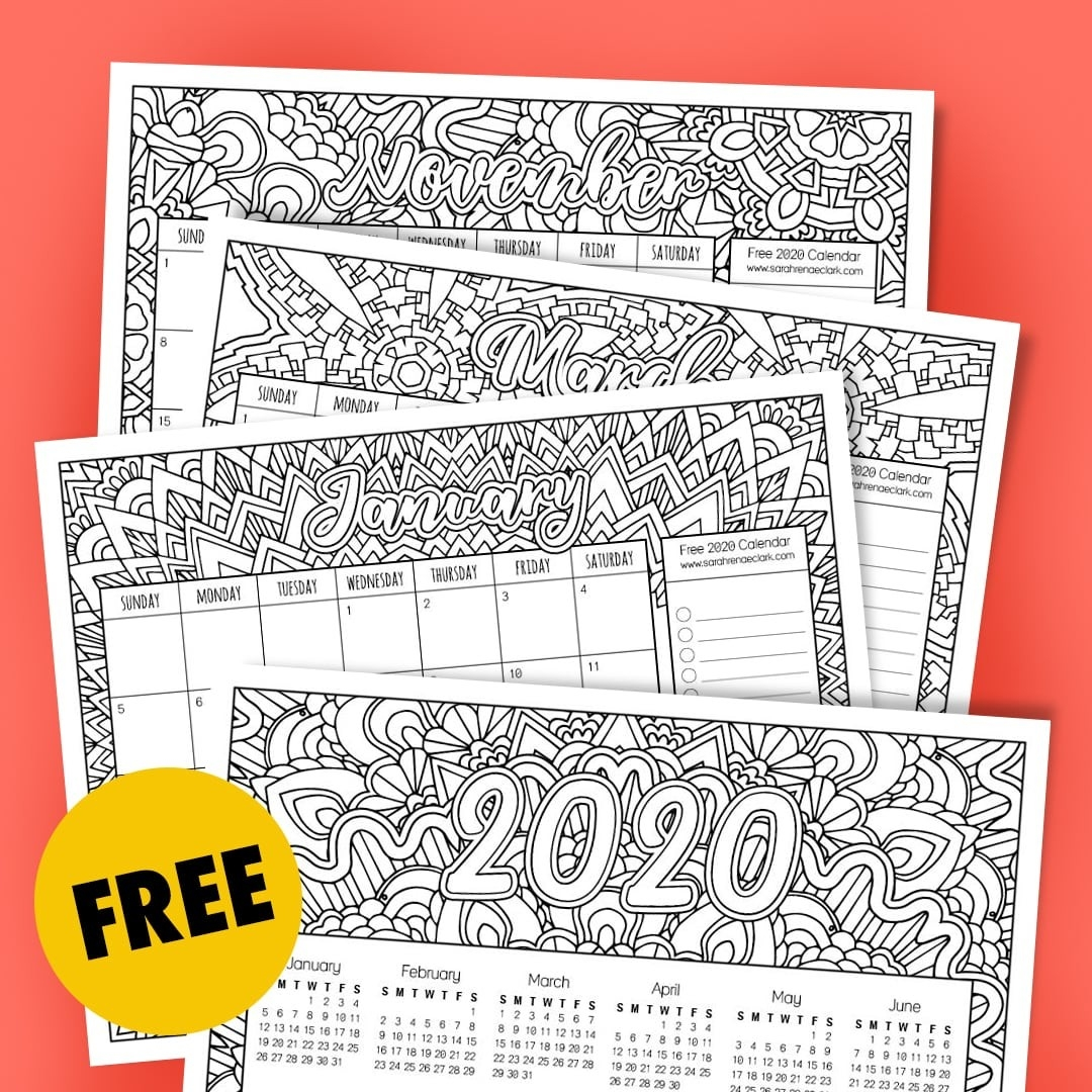 Free 2020 Coloring Calendar-Disney Printable Calendar 2020 Monthly