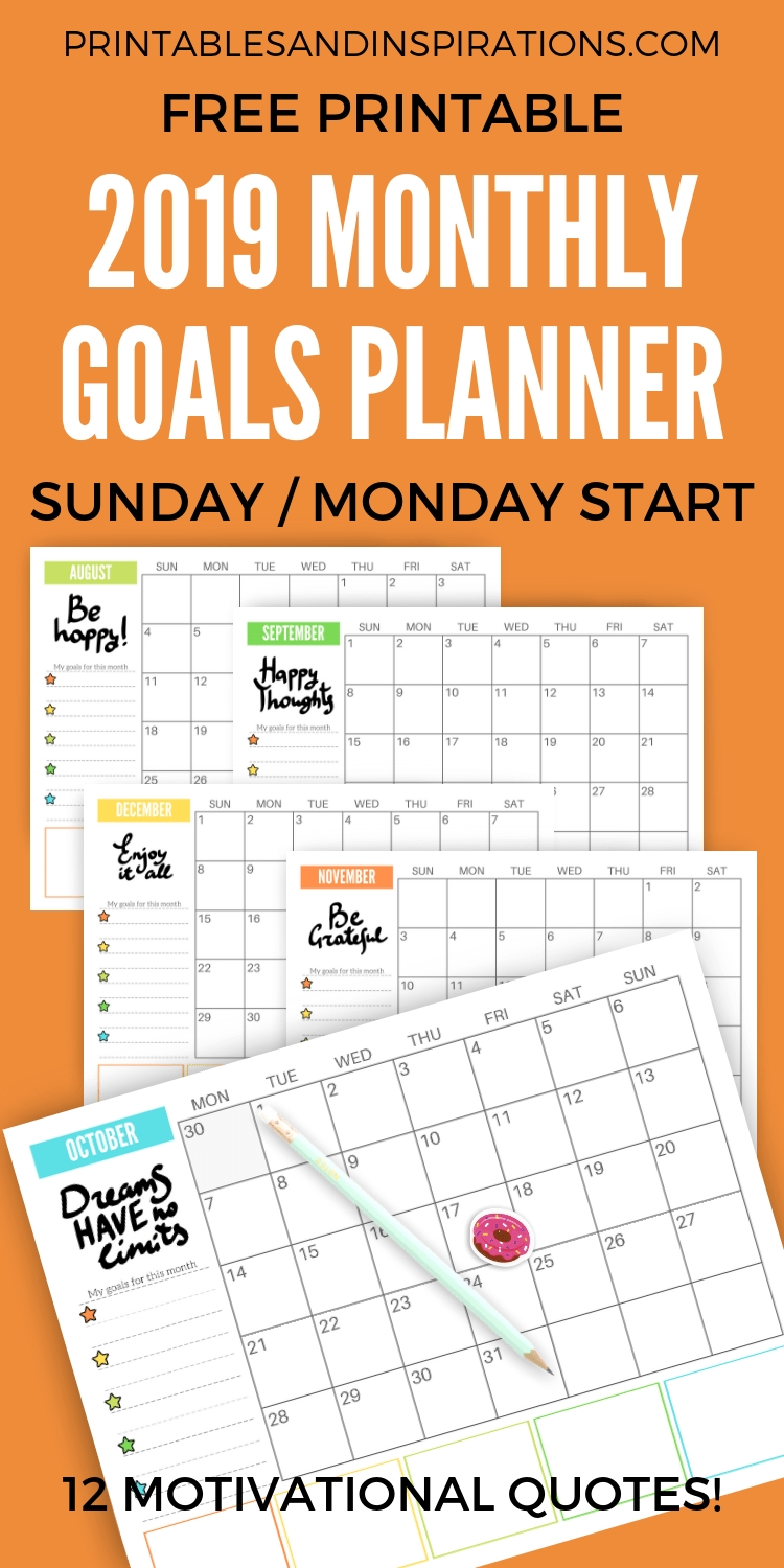 Free 2020 Monthly Goals Calendar Printable-Monthly Goal Calendar Template