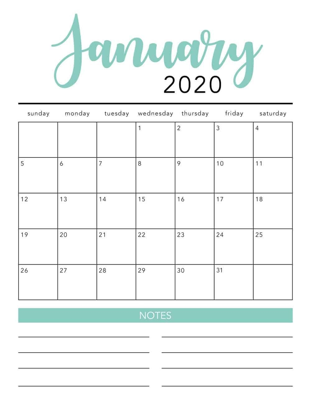 Free 2020 Printable Calendar Template (2 Colors!) - I Heart-Monthly Calendar Sheets 2020