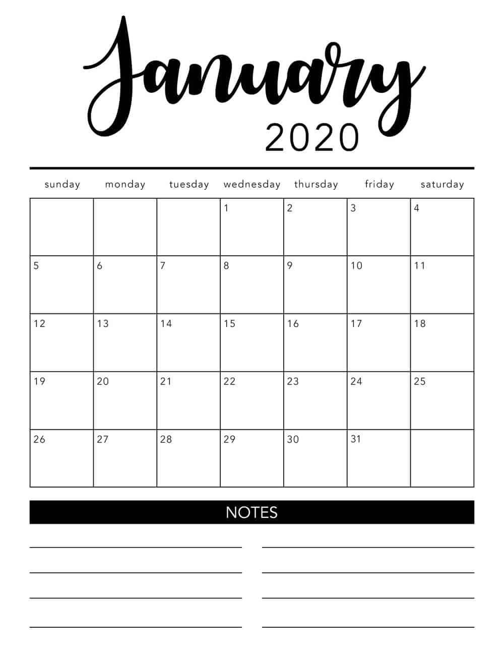 Free 2020 Printable Calendar Template (2 Colors!) - I Heart-Printable Monthly Calendar 2020