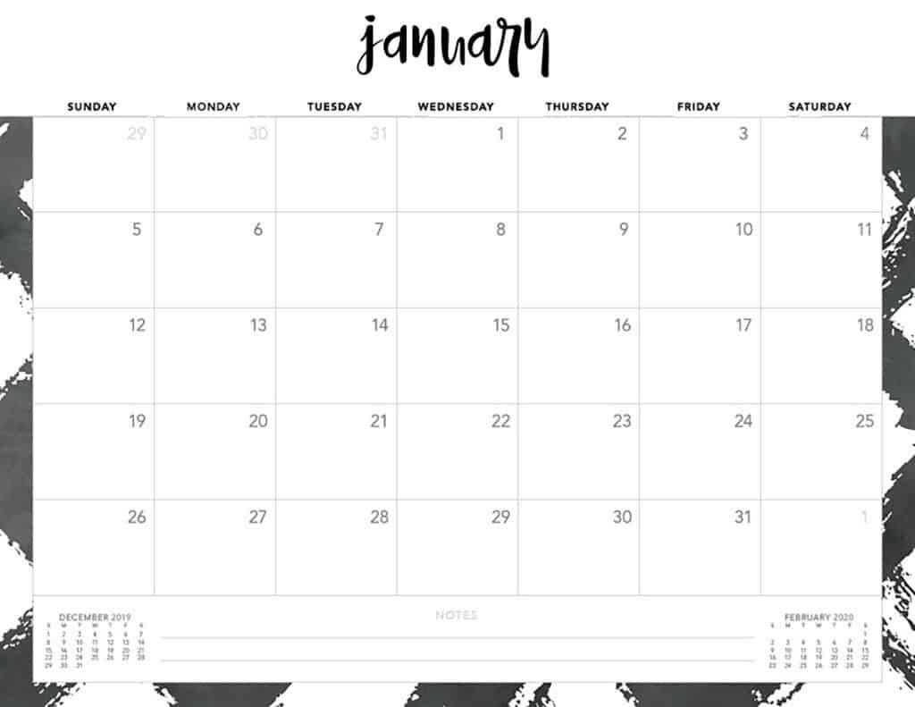 Free 2020 Printable Calendars - 51 Designs To Choose From!-Blank Monthly Planner Starts On Monday