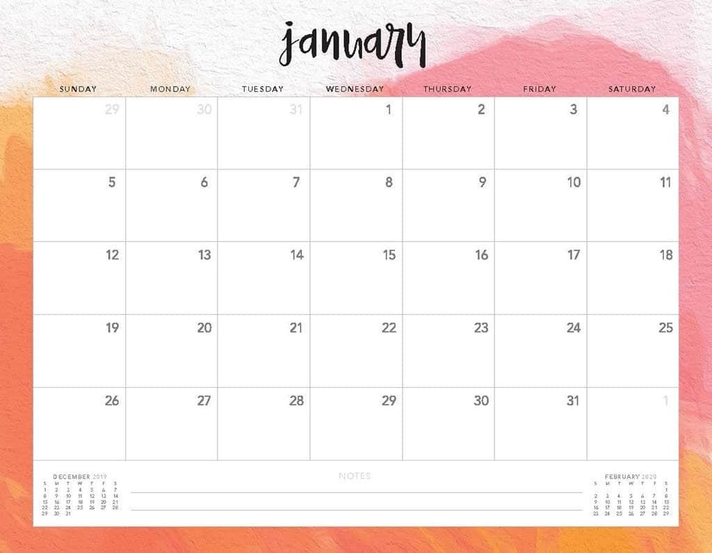 Free 2020 Printable Calendars - 51 Designs To Choose From!-Printable Monthly Calendar 2020