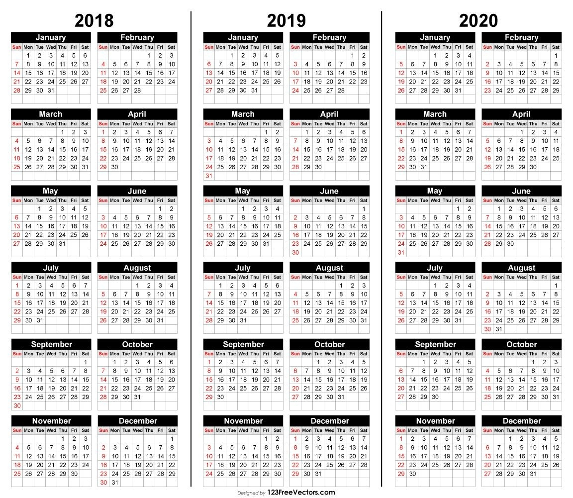 Free 3 Year Calendar 2018 2019 2020 | Calender Template-2020 Calendar Template For Illustrator