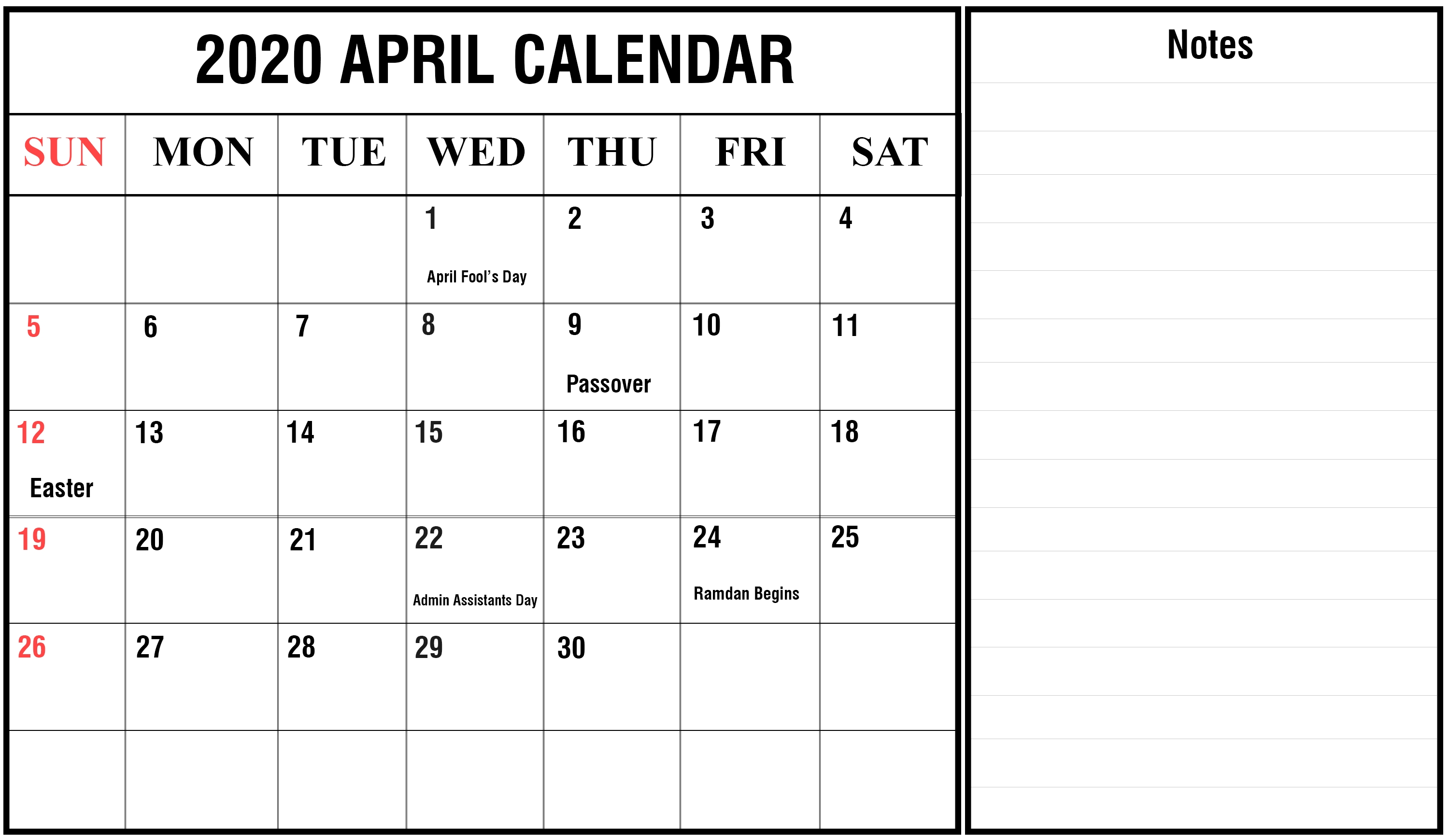 Free April Calendar 2020 Printable Editable Template-2020 Monthly Calendars To Print With Jewish Holidays