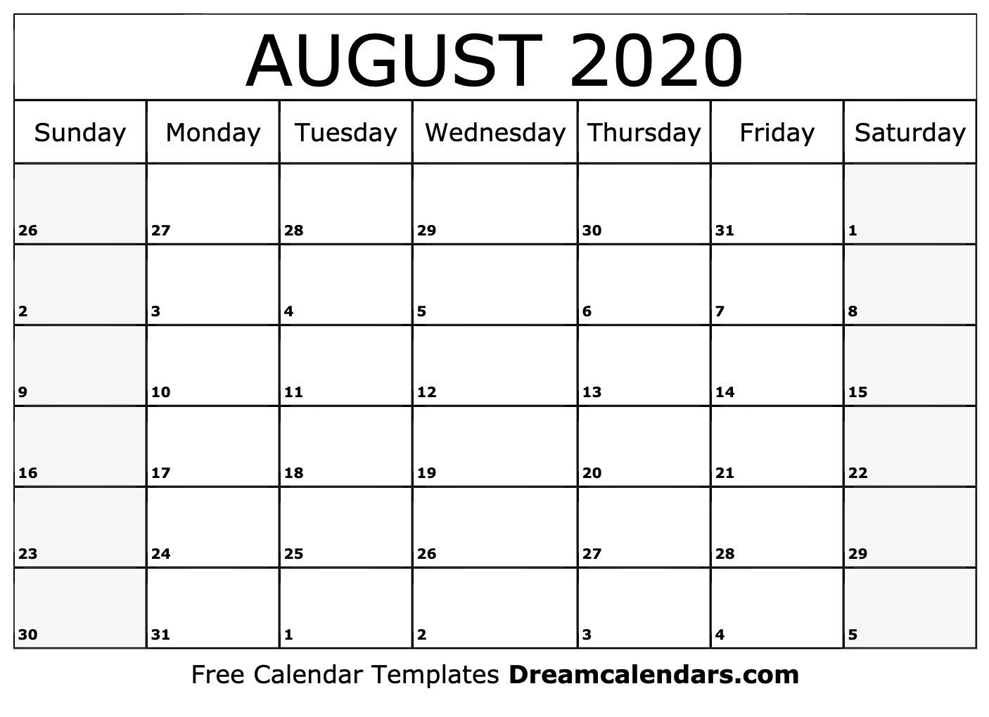Free Blank August 2020 Printable Calendar-Blank Calendar For August 2020/monday-Friday