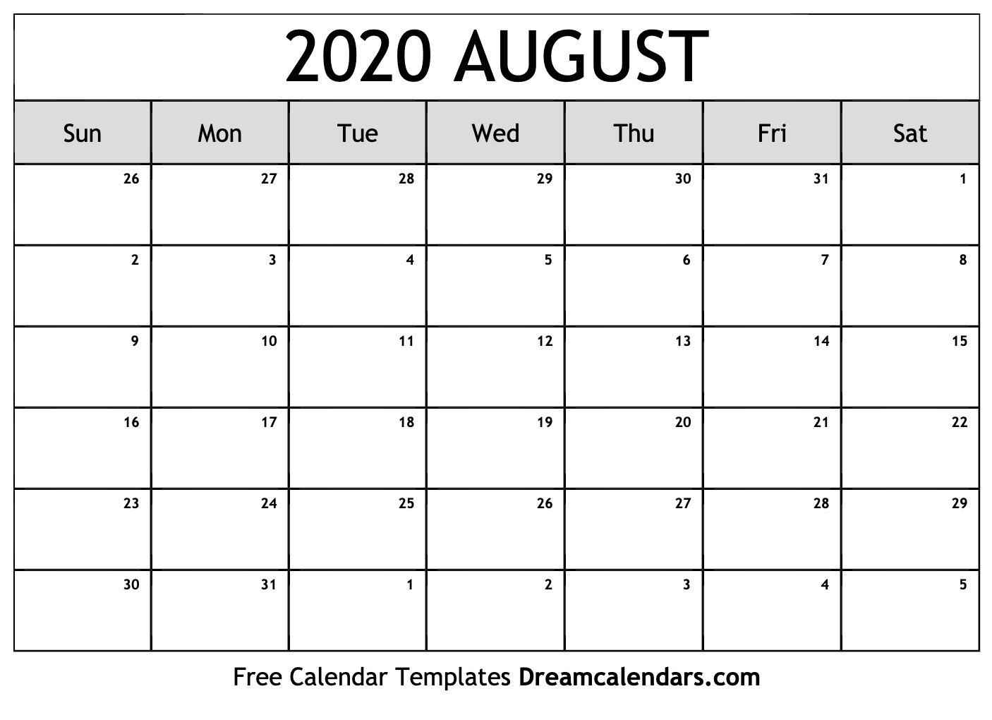 Free Blank August 2020 Printable Calendar-Blank Calendar Template June July August 2020
