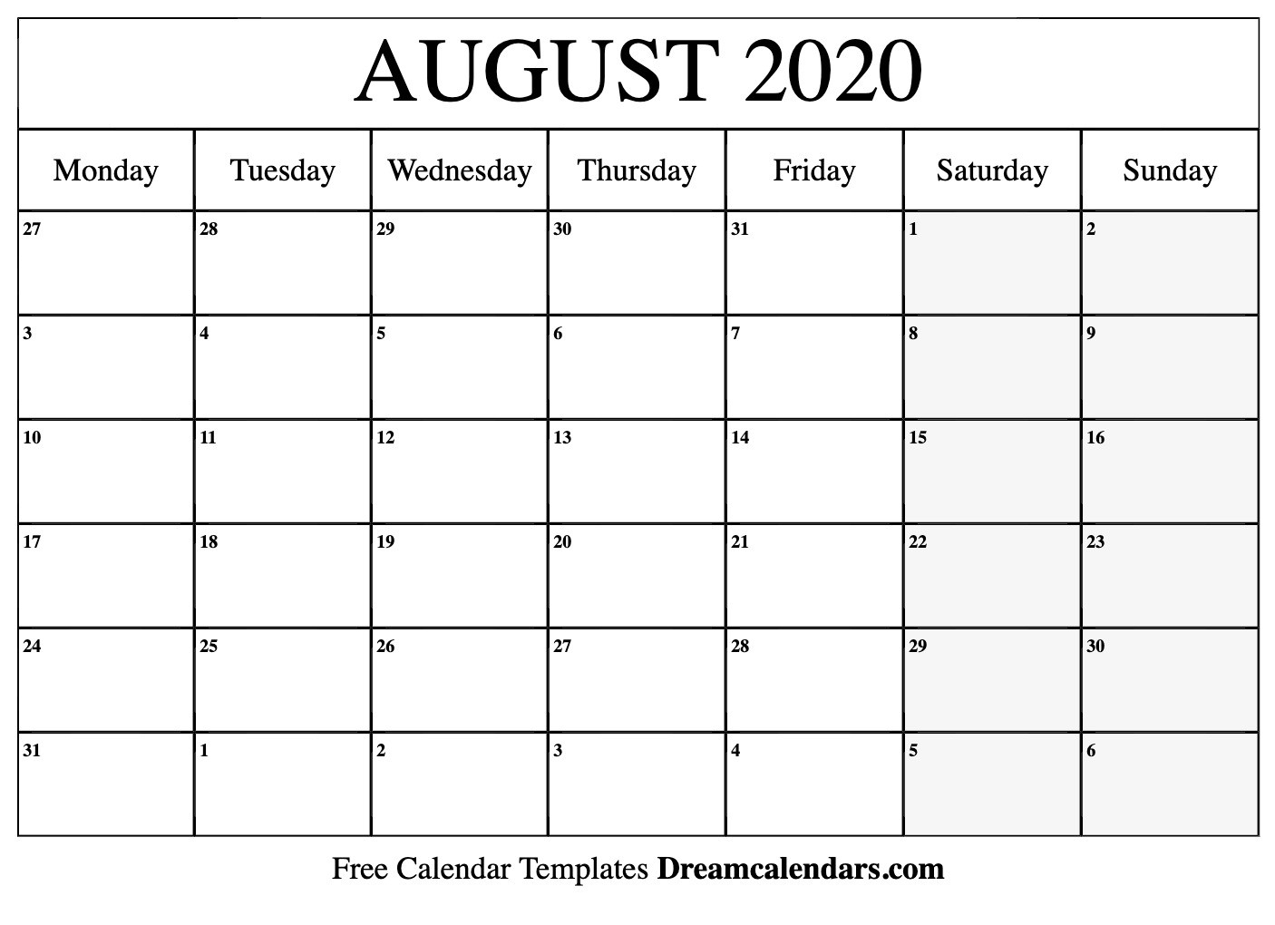 Free Blank August 2020 Printable Calendar-Printable Blank Monthly Calendar 2020 August