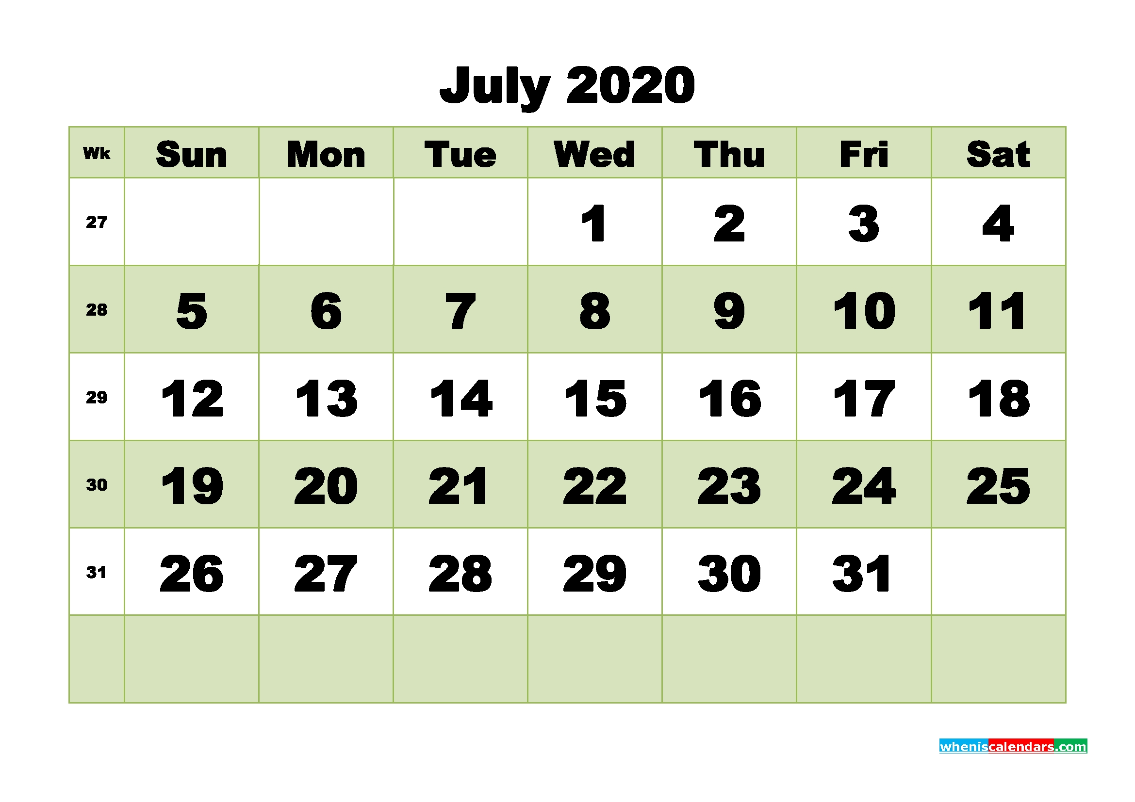 Free Blank Calendar July 2020 Printable - No.m20B475 | Free-Blank 3 Month Calendar 2020 Printable
