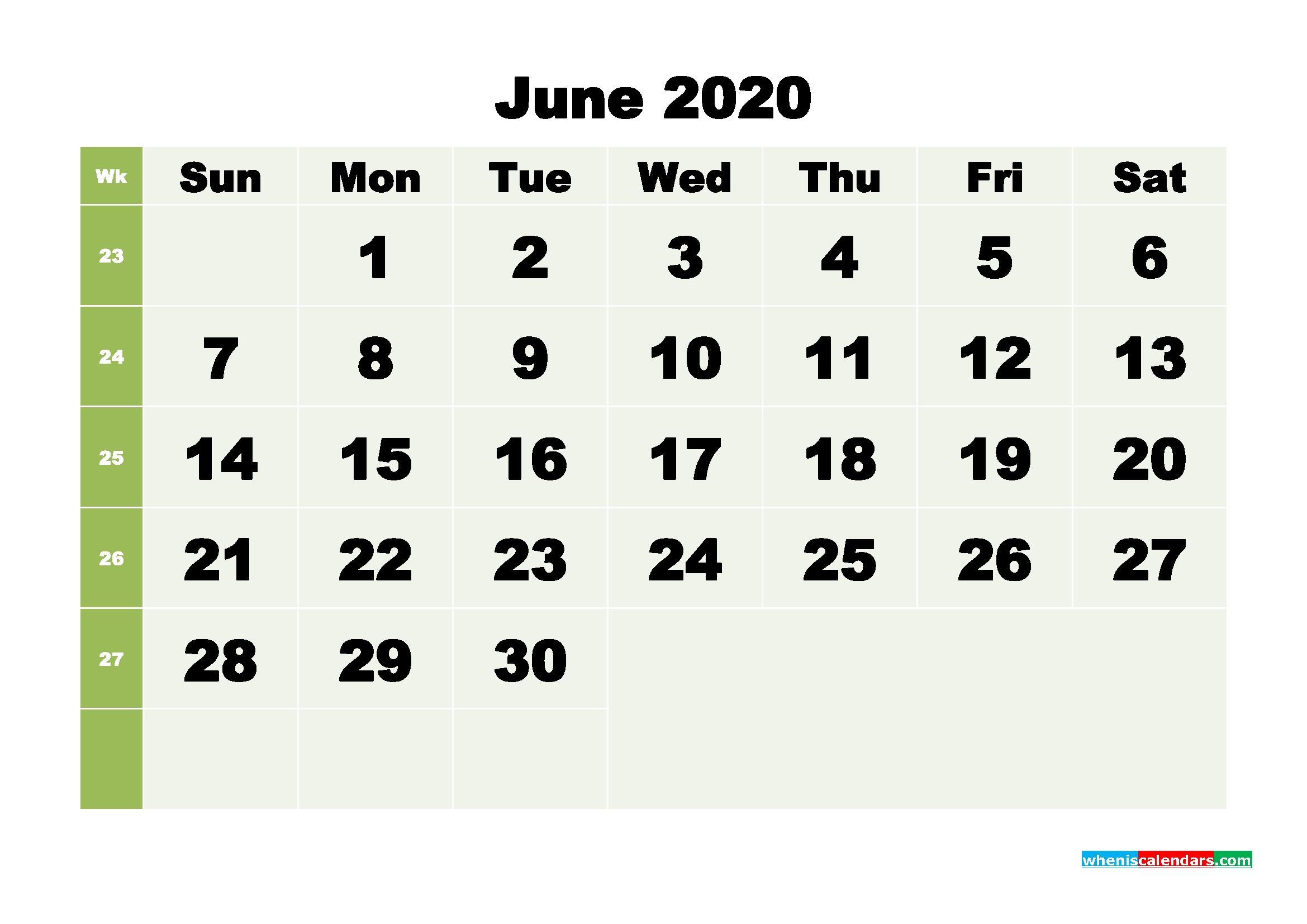 Free Blank Calendar June 2020 Printable - No.m20B258 | Free-Blank 3 Month Calendar 2020 Printable