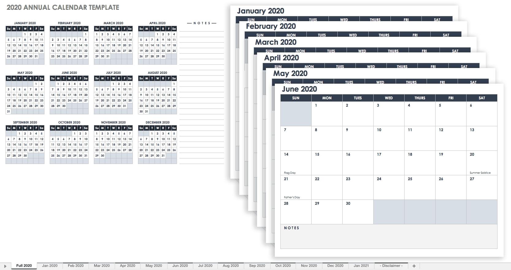 Free Blank Calendar Templates - Smartsheet-Employee Vacation Calendar Template 2020 Printable Free