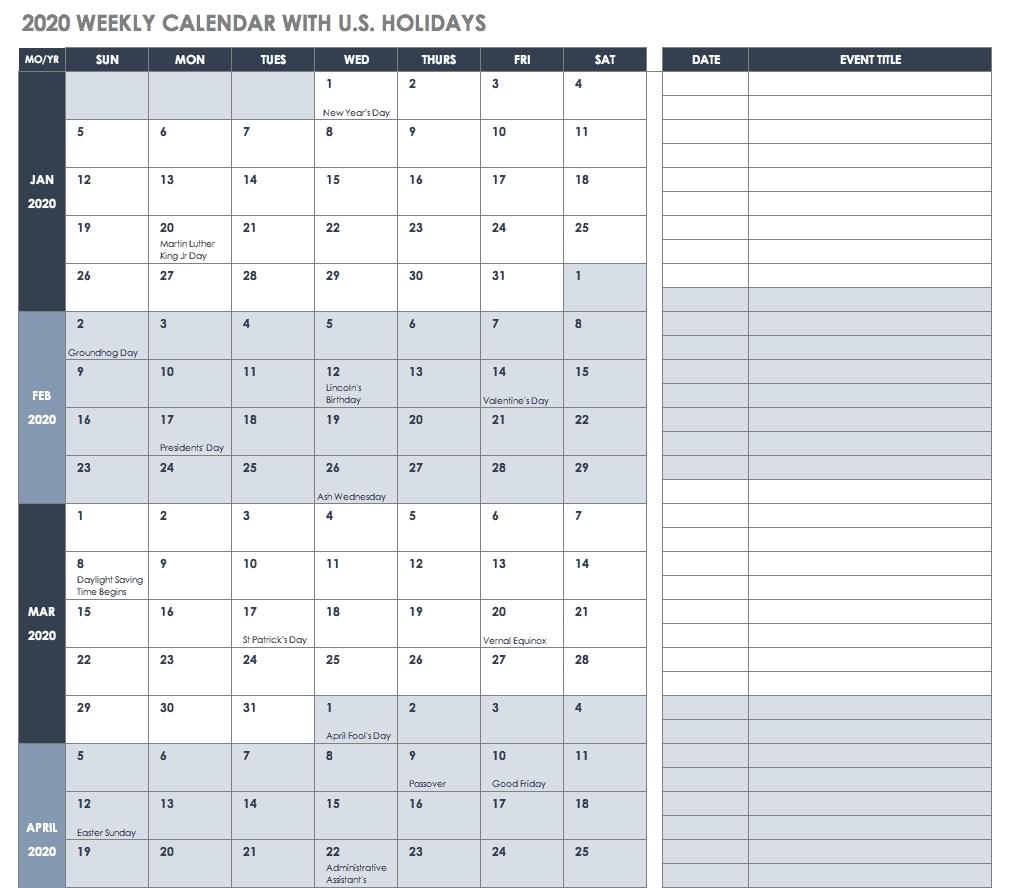 Free Blank Calendar Templates - Smartsheet-Employee Vacation Calendar Template