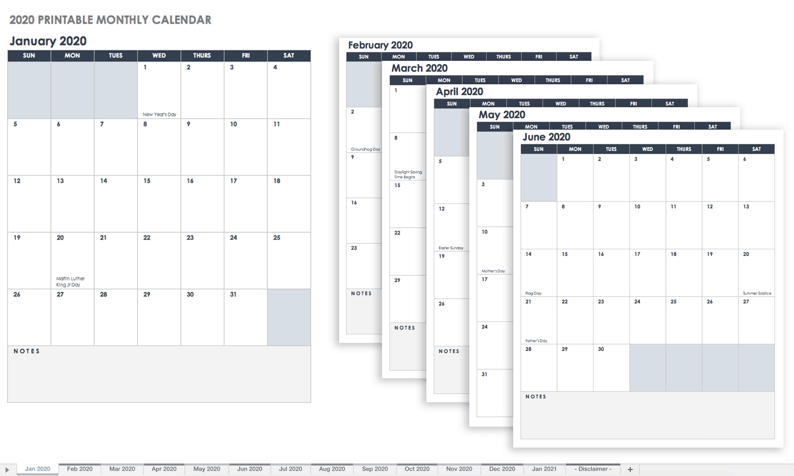 Free Blank Calendar Templates - Smartsheet-Monthly Calendars 2020 Printable Free 2-Pages Blank