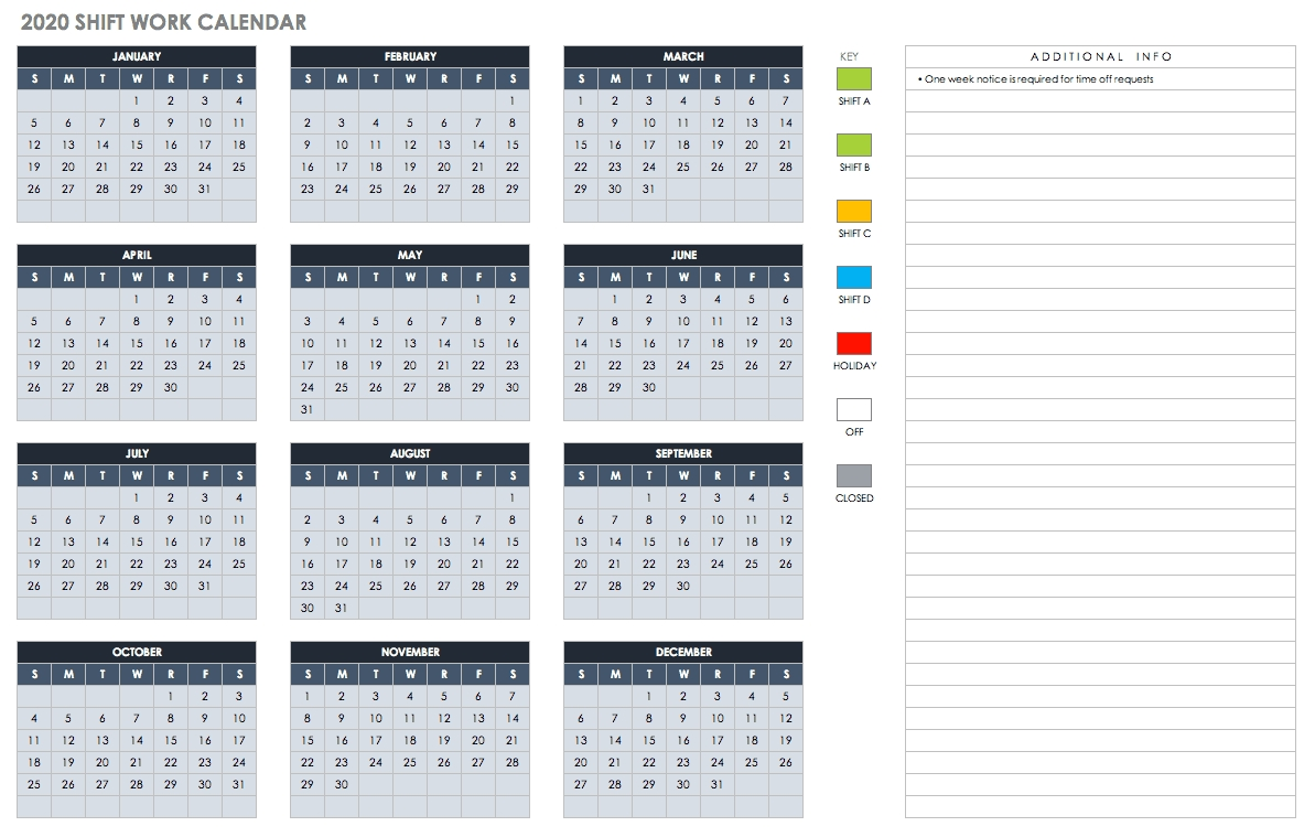 Free Blank Calendar Templates - Smartsheet-Printable Employee Vacation Calendar 2020 Template