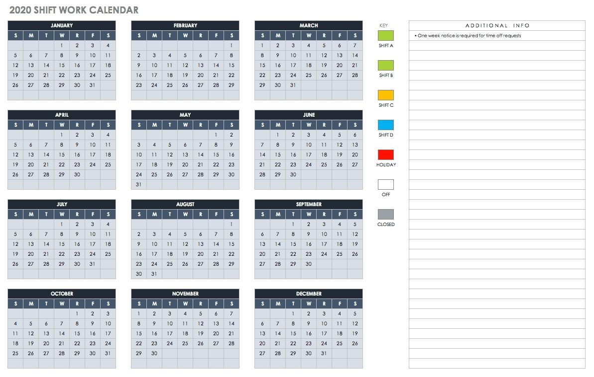 Free Blank Calendar Templates - Smartsheet-Vacation Calendar Template 2020