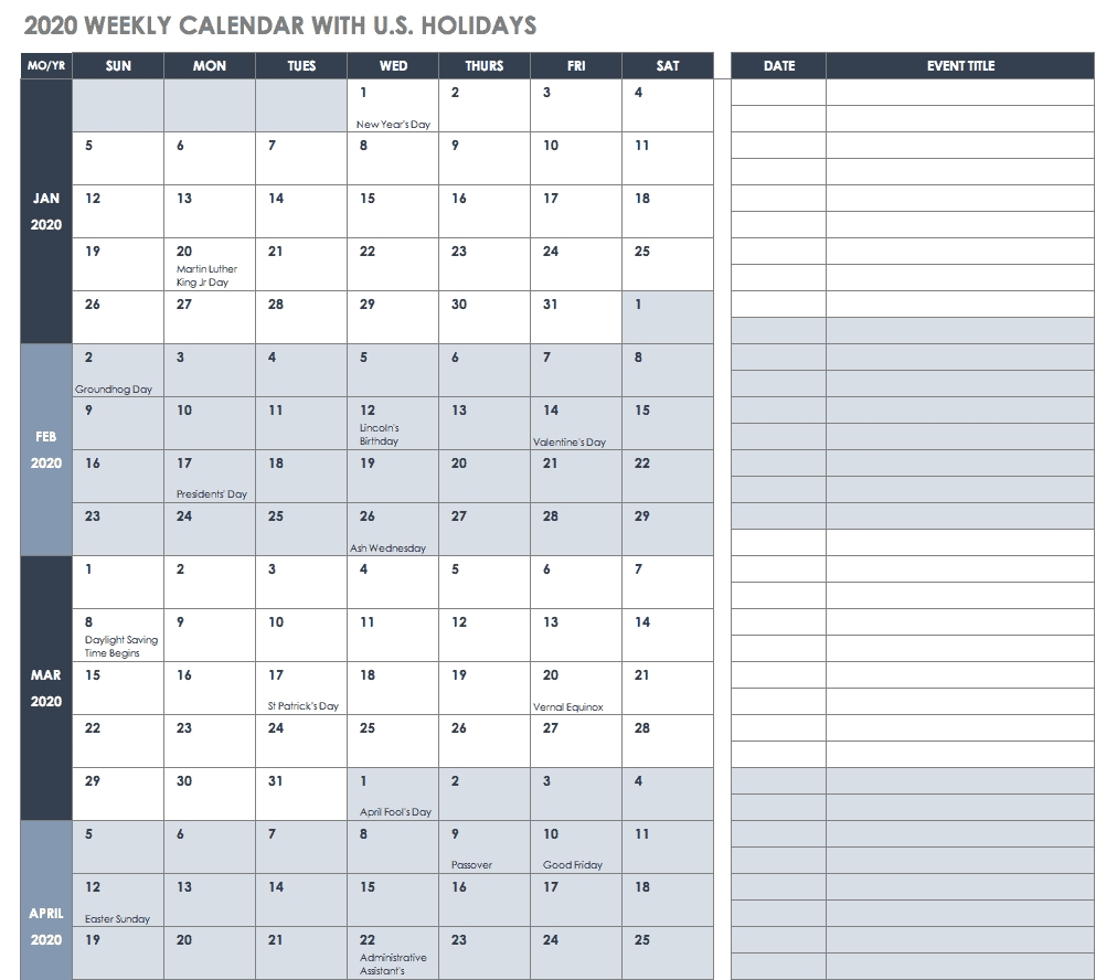 Free Blank Calendar Templates - Smartsheet-Vacation Planner Template 2020