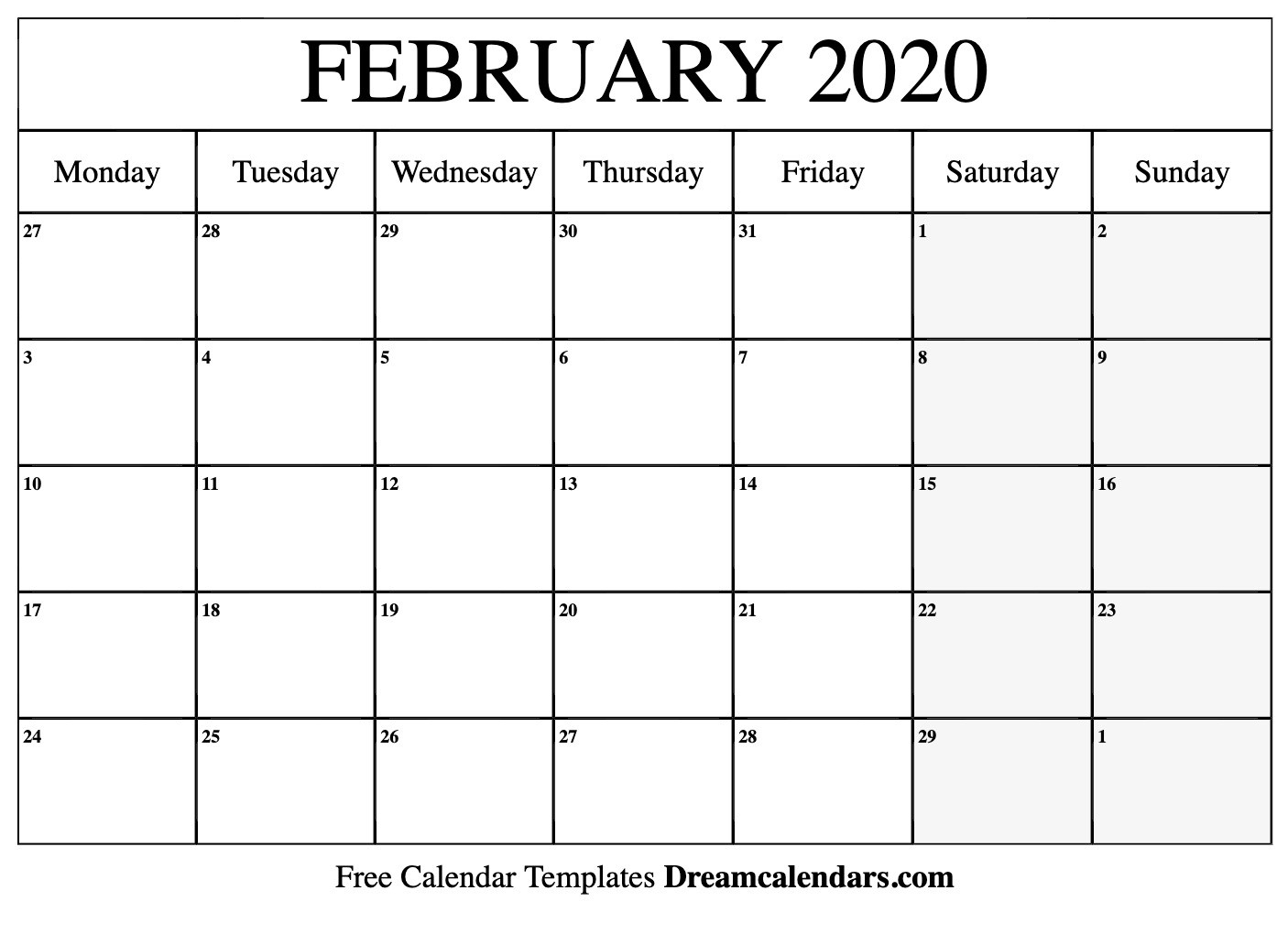 Free Blank February 2020 Printable Calendar-8 X 10 Prinable Blank Monthly Calendar