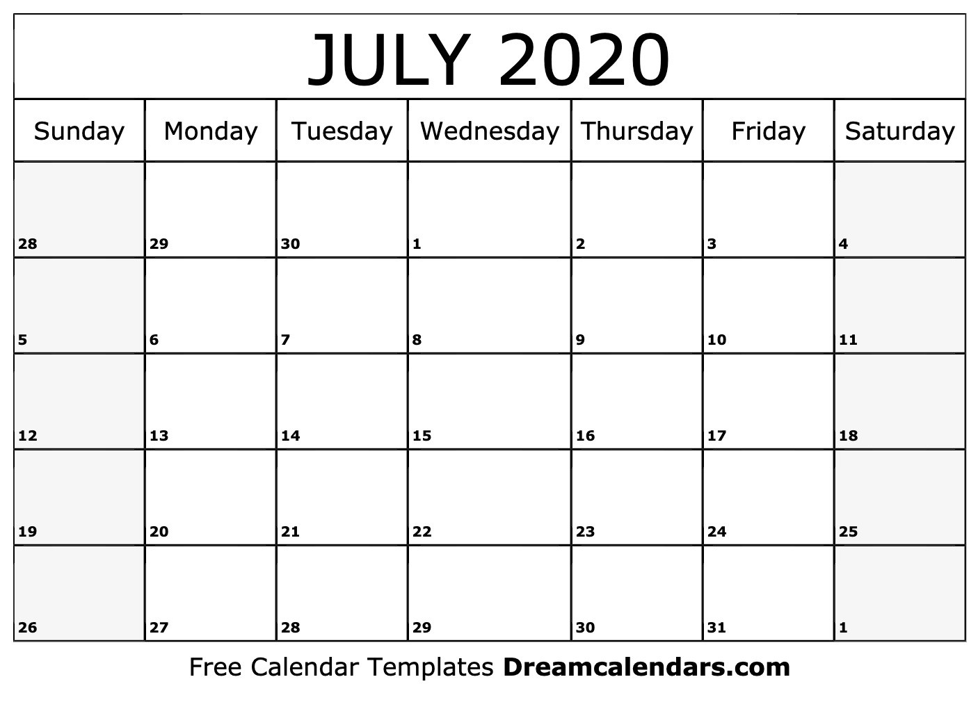 Free Blank July 2020 Printable Calendar-5 Day Calander Template July 2020