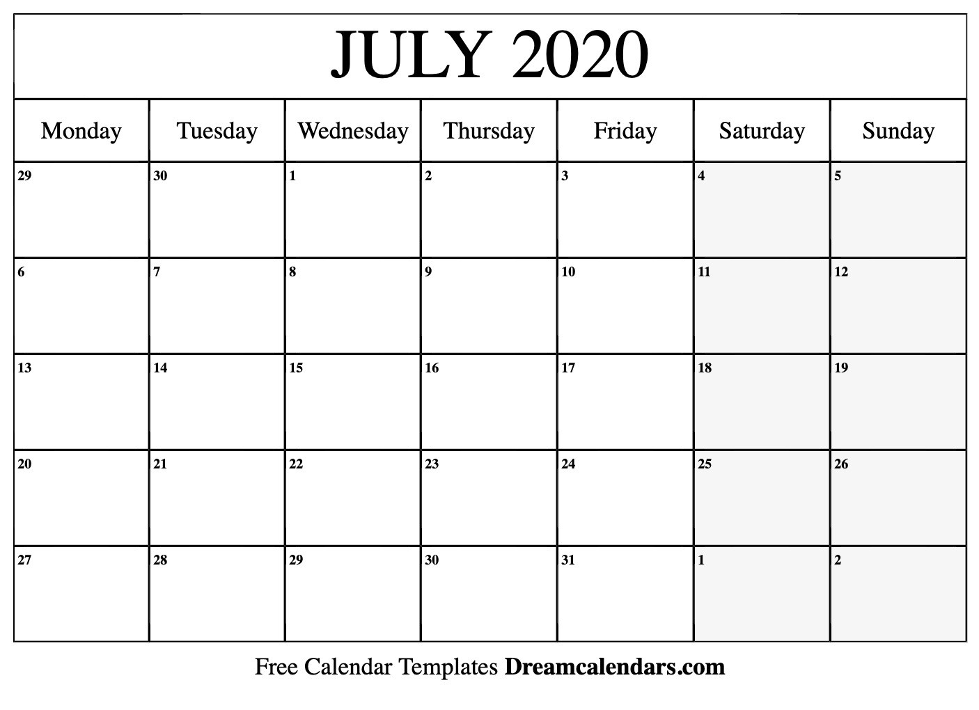 Free Blank July 2020 Printable Calendar-Blank Monthly Calendar Printable July 2020
