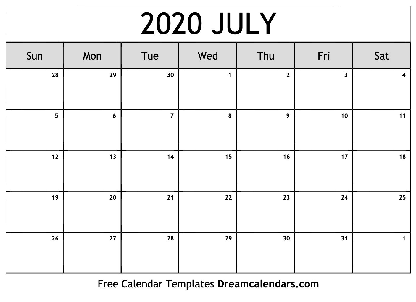 Free Blank July 2020 Printable Calendar-Monthly Calendar July August 2020