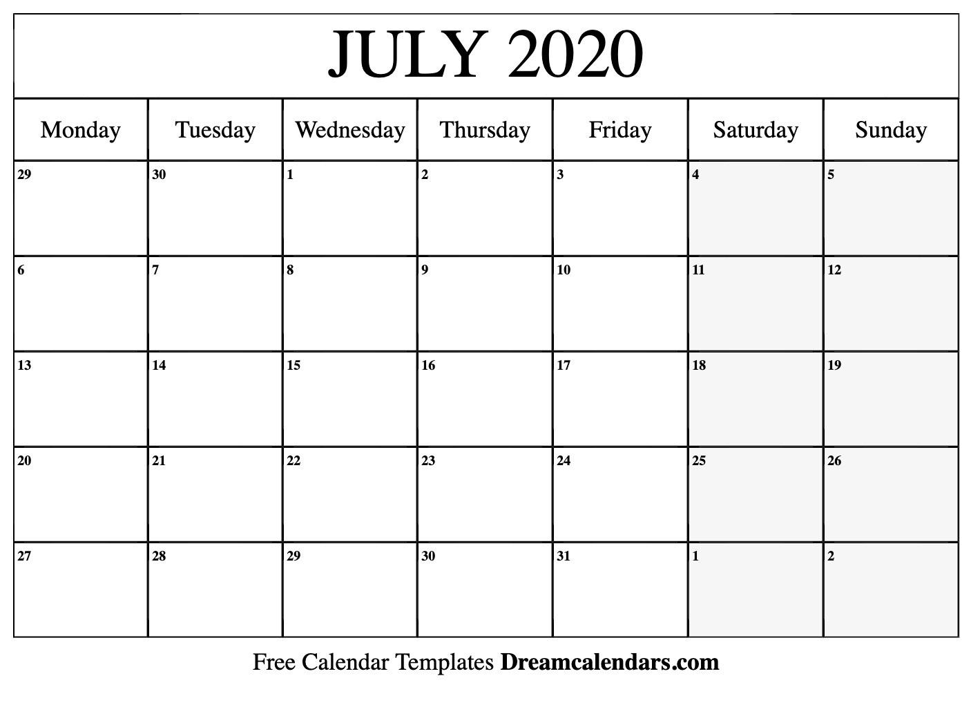 Free Blank July 2020 Printable Calendar-Monthly Calendar June-July 2020