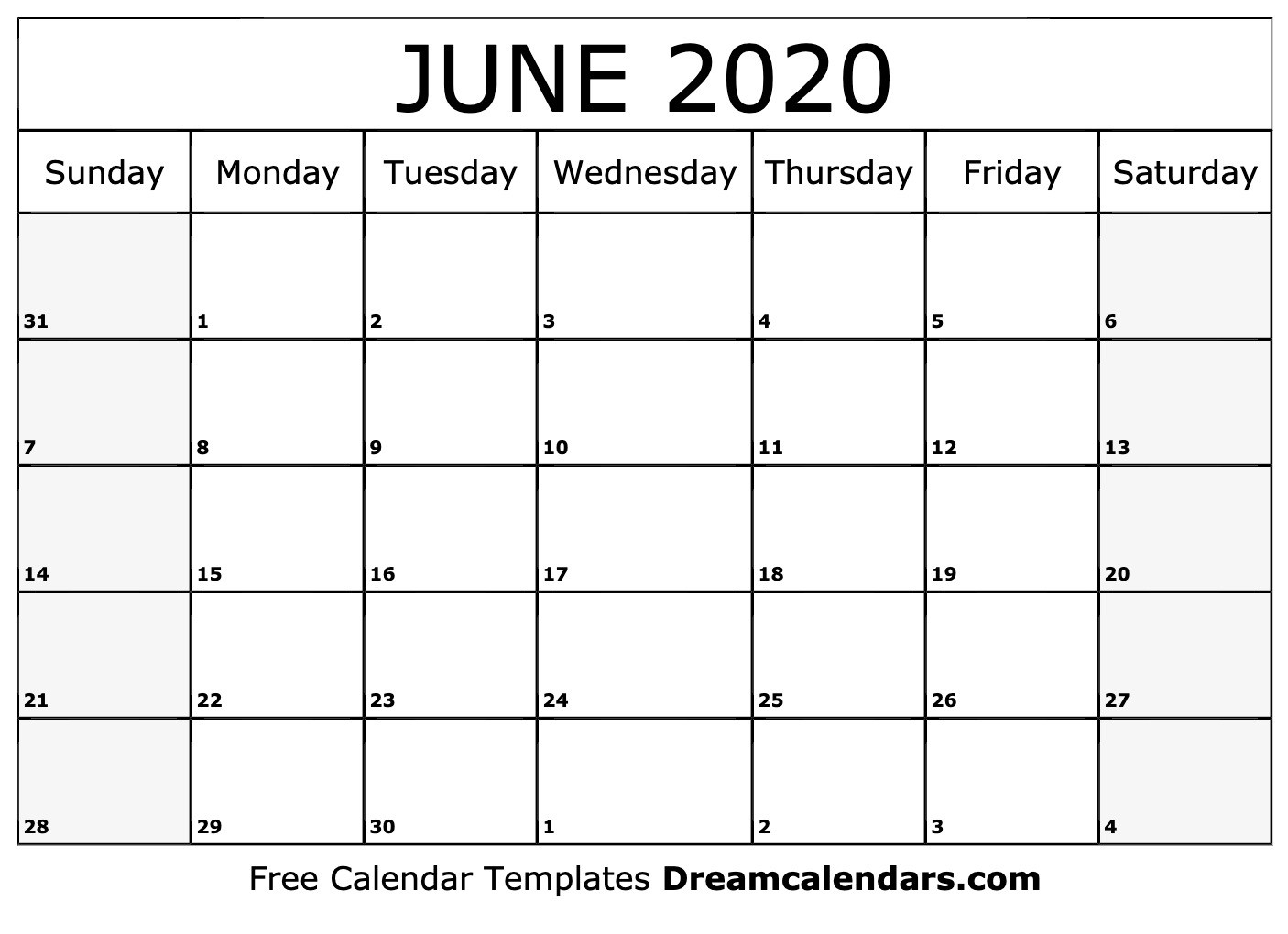 Free Blank June 2020 Printable Calendar-Summer Calendar Blank 2020