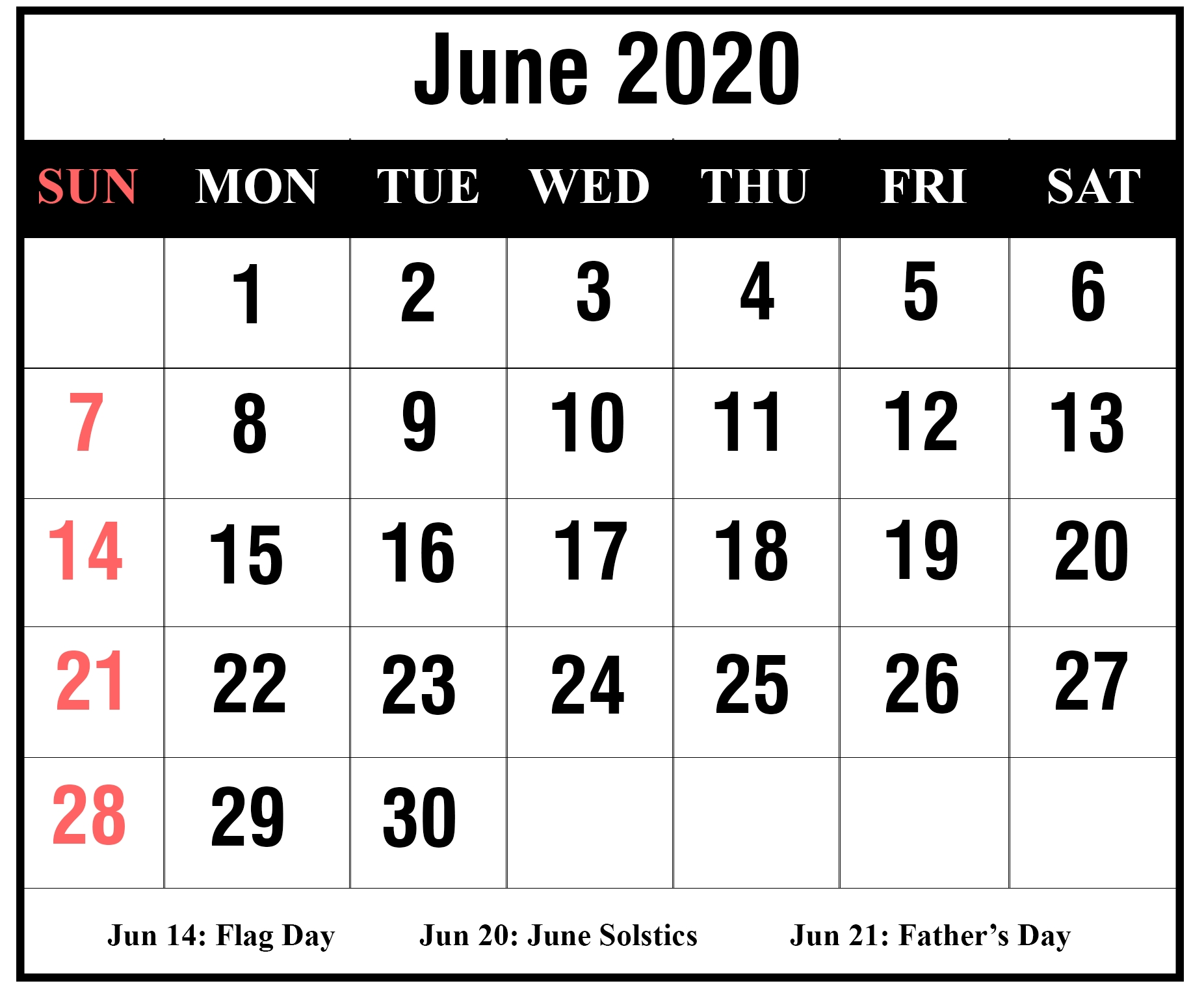 Free Blank June 2020 Printable Calendar With Holidays [Pdf-Summer Calendar Blank 2020